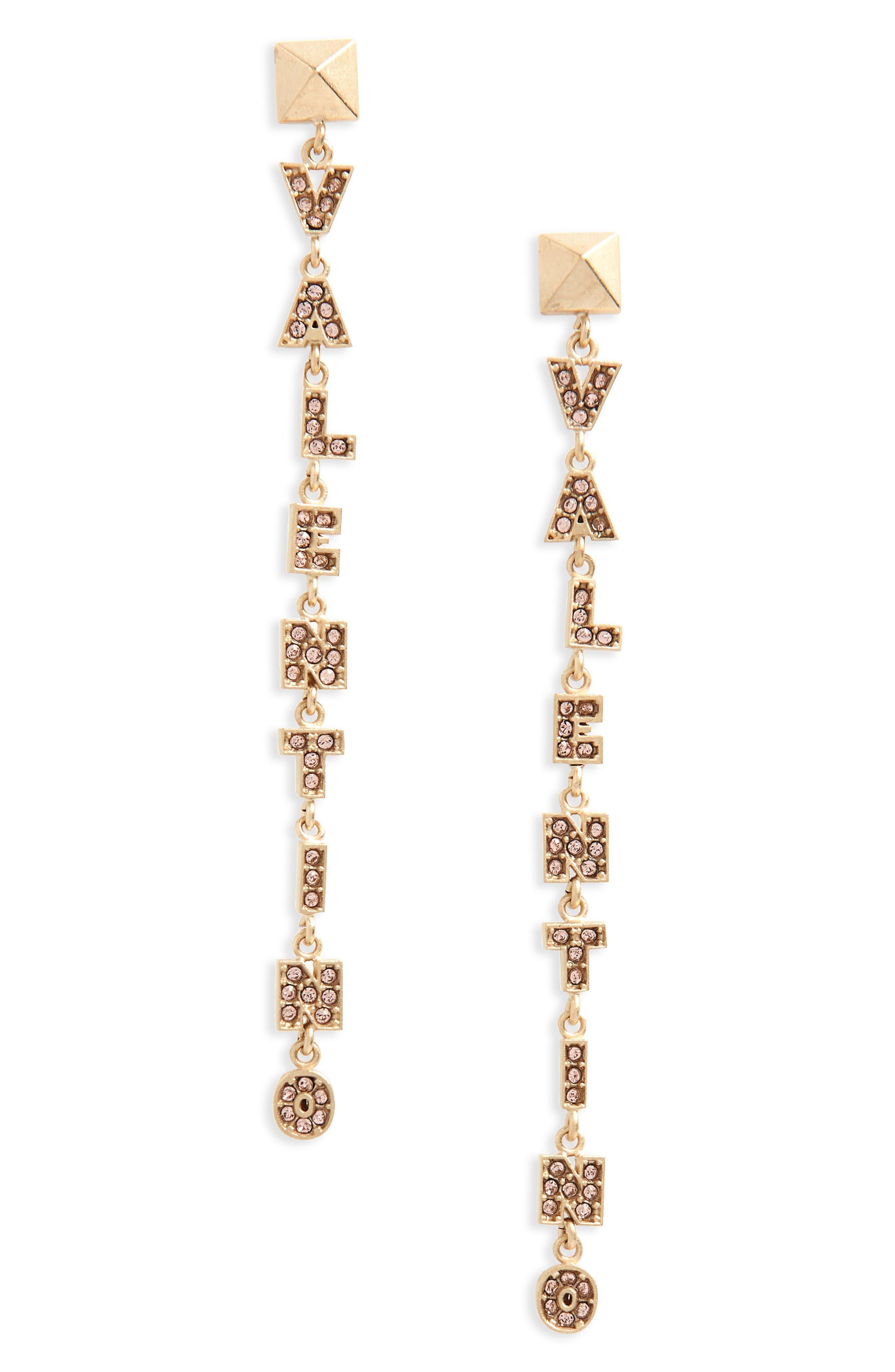 Logo Drop Earrings,                         Main,                         color, Plaino Mat/ Winter Rose