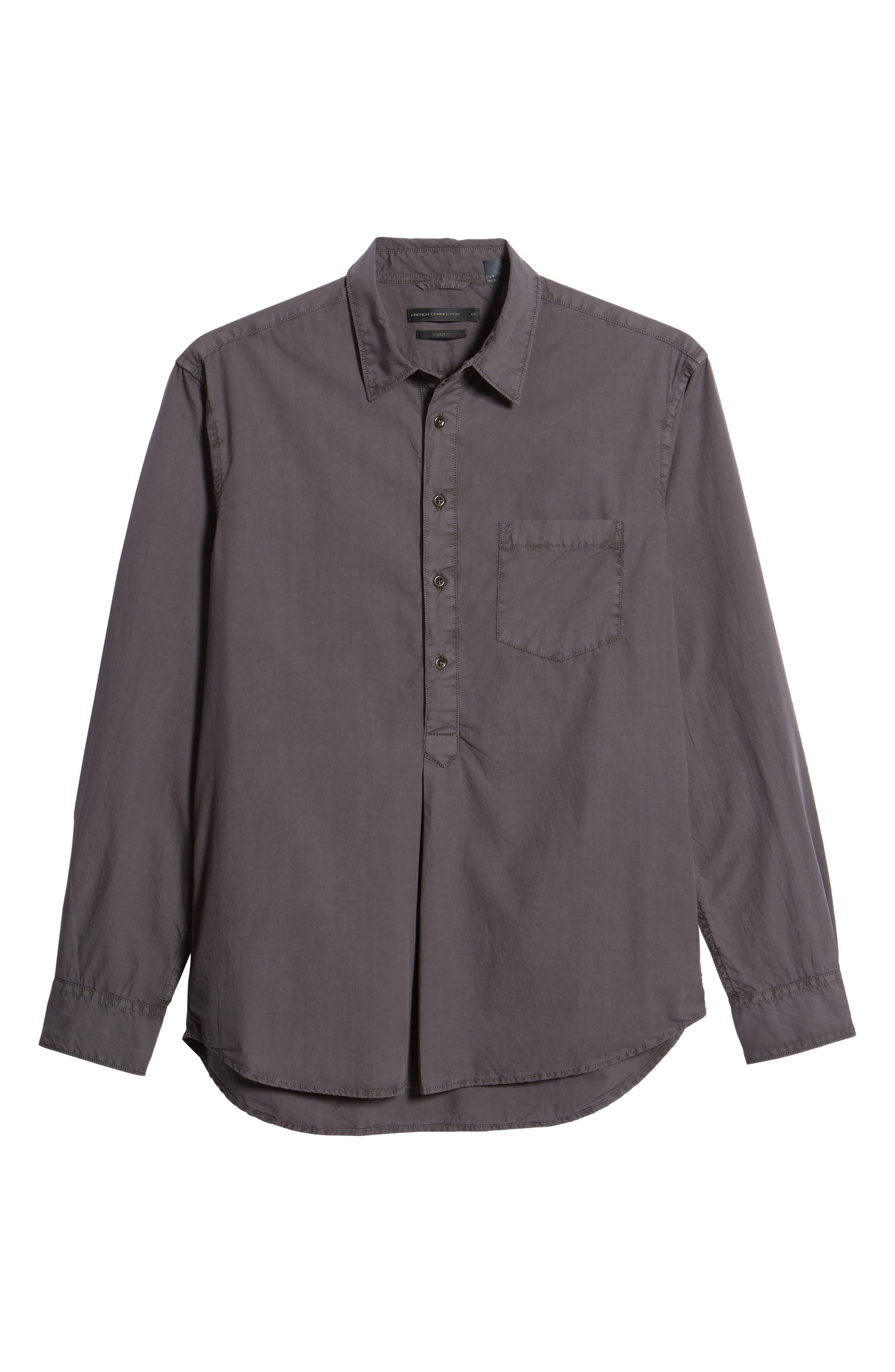 Regular Fit Garment Dyed Poplin Sport Shirt,                             Alternate thumbnail 6, color,                             Workwear Grey