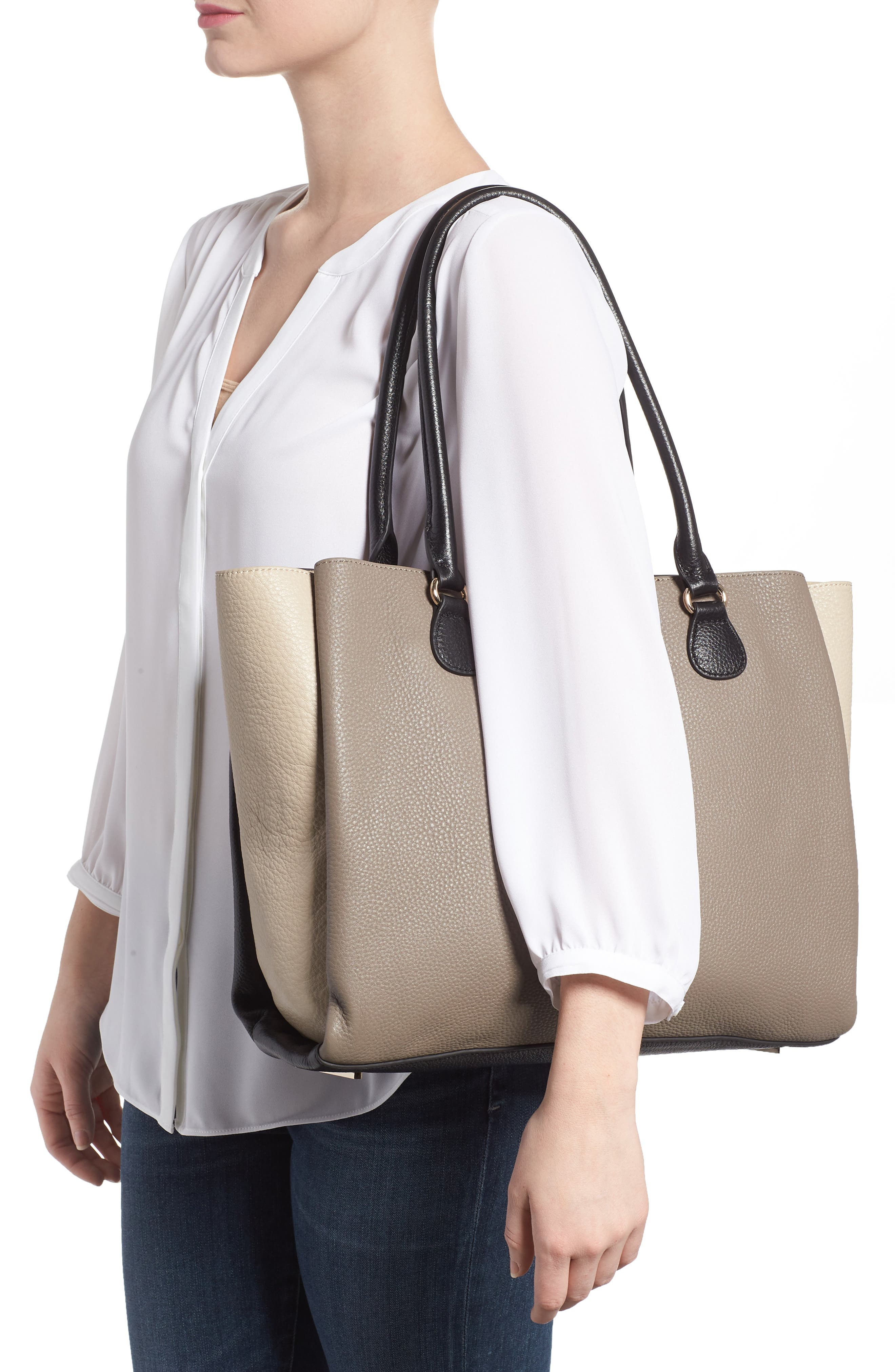 Céline Dion Adagio Leather Tote,                             Alternate thumbnail 2, color,                             Taupe Combo