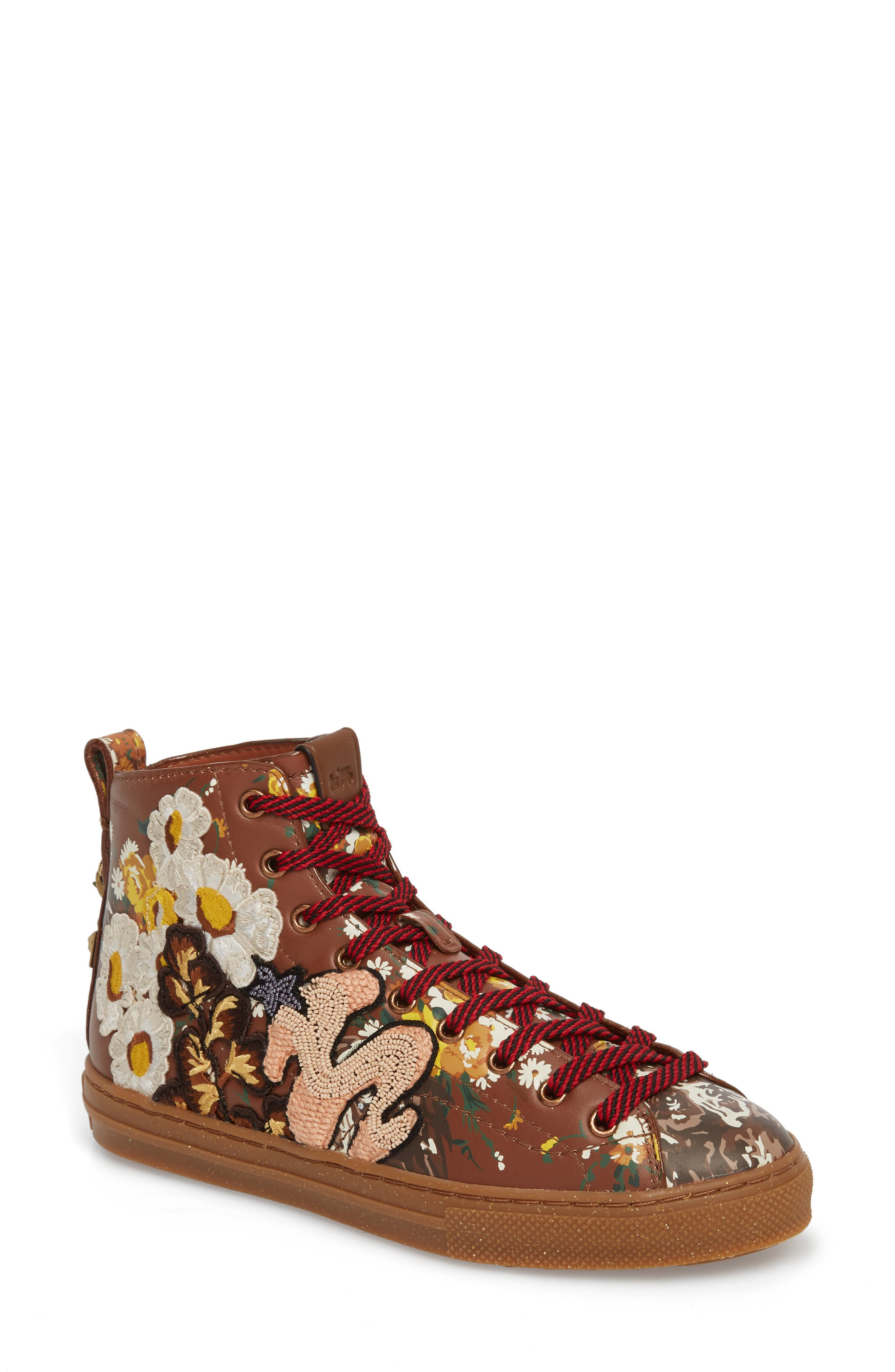 Flower Patch High Top Sneaker,                         Main,                         color, Teak Leather