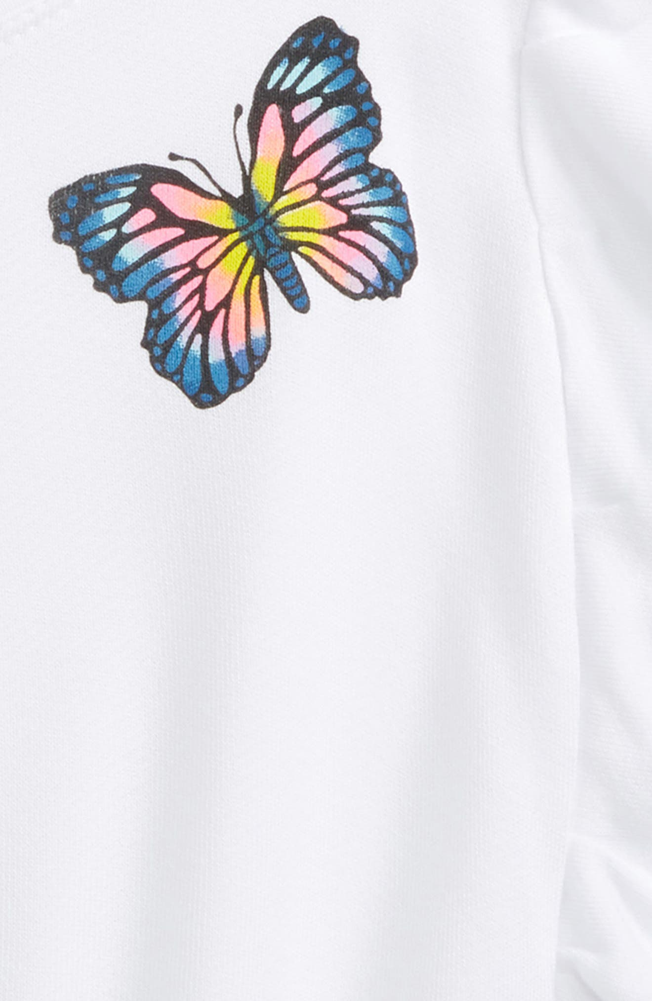 Butterfly Ruffle Sweatshirt,                             Alternate thumbnail 2, color,                             White