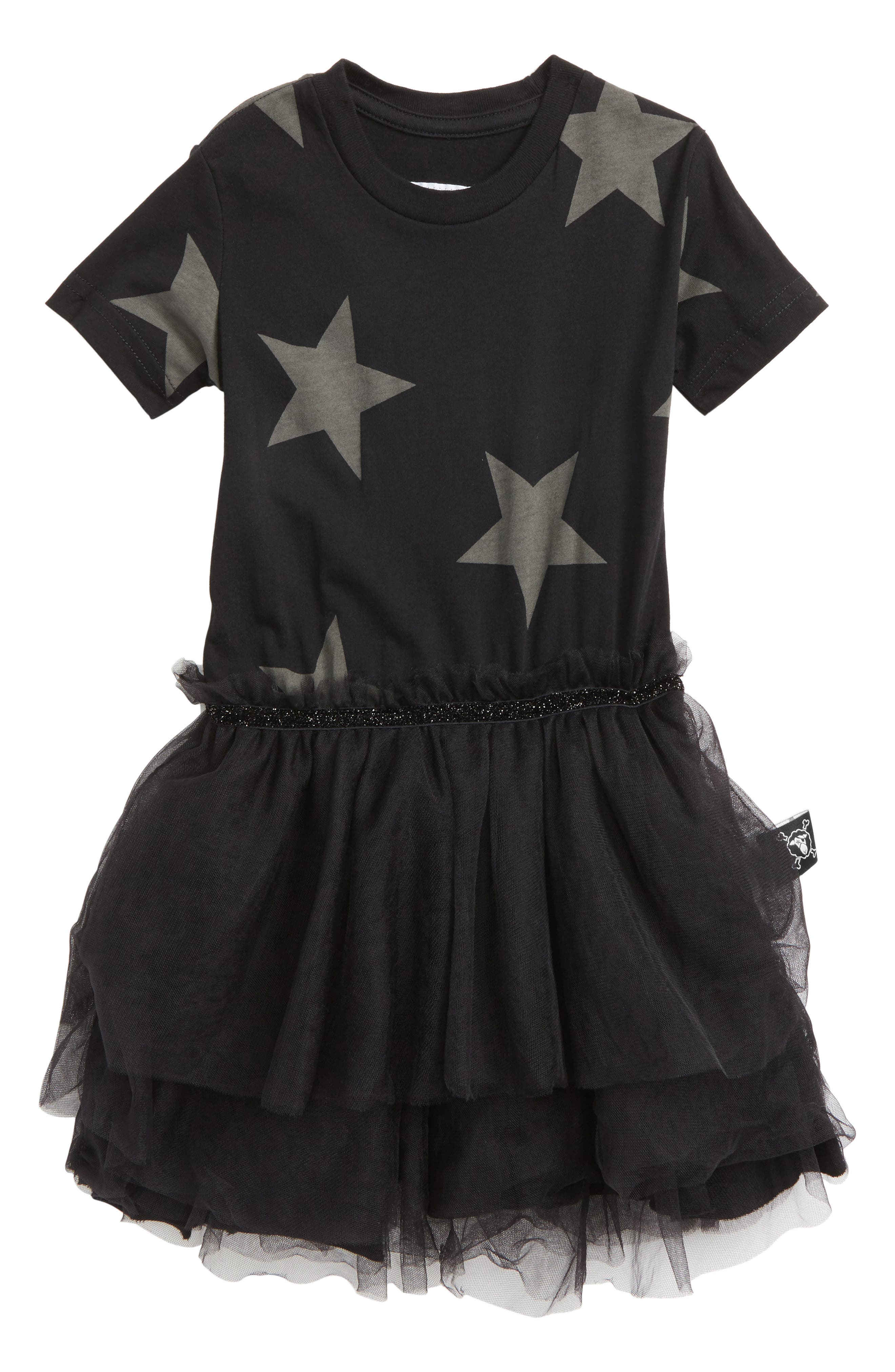 Star Tulle Dress,                         Main,                         color, Black
