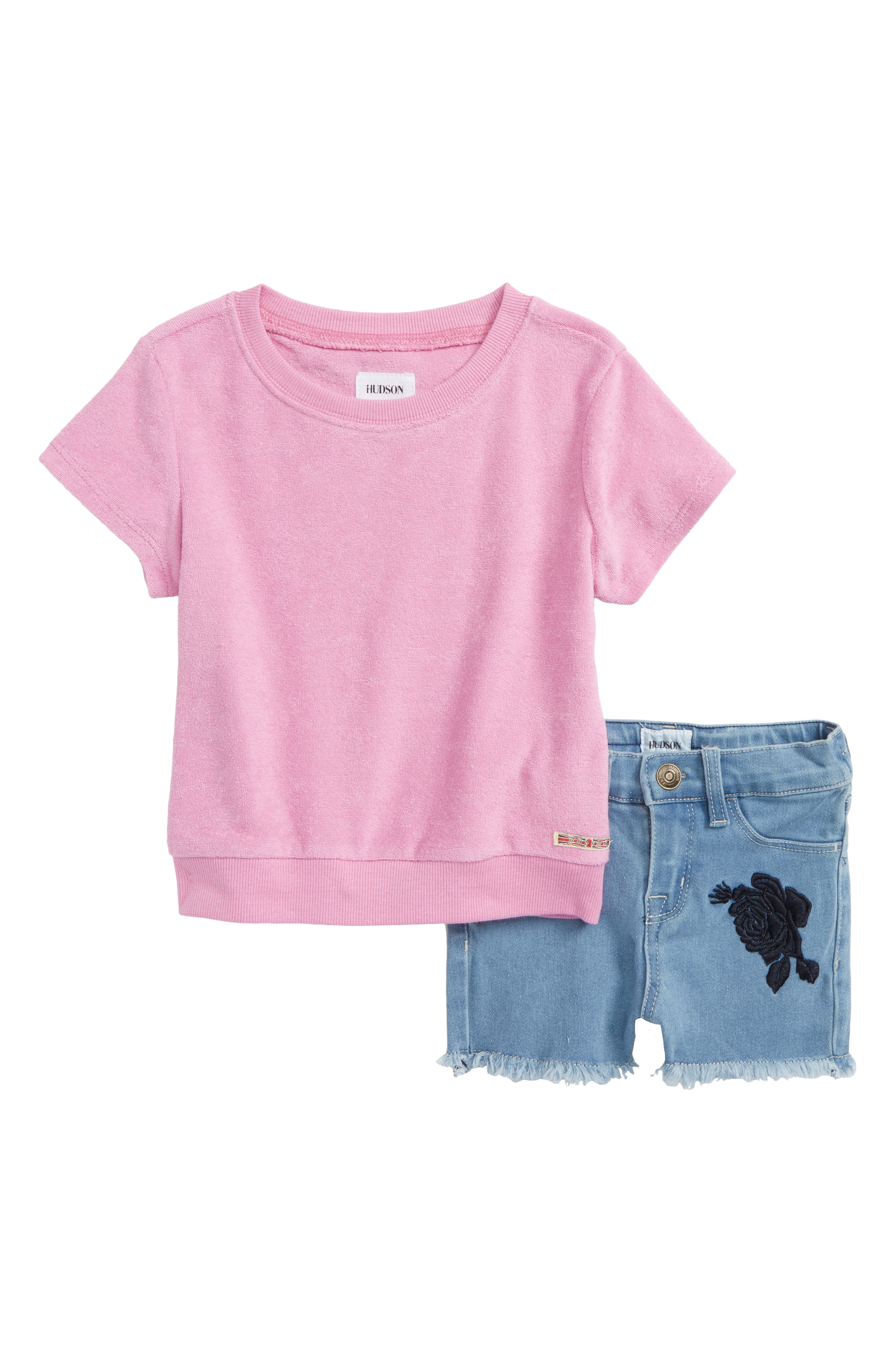 French Terry Tee & Shorts Set,                             Main thumbnail 1, color,                             Light Blue