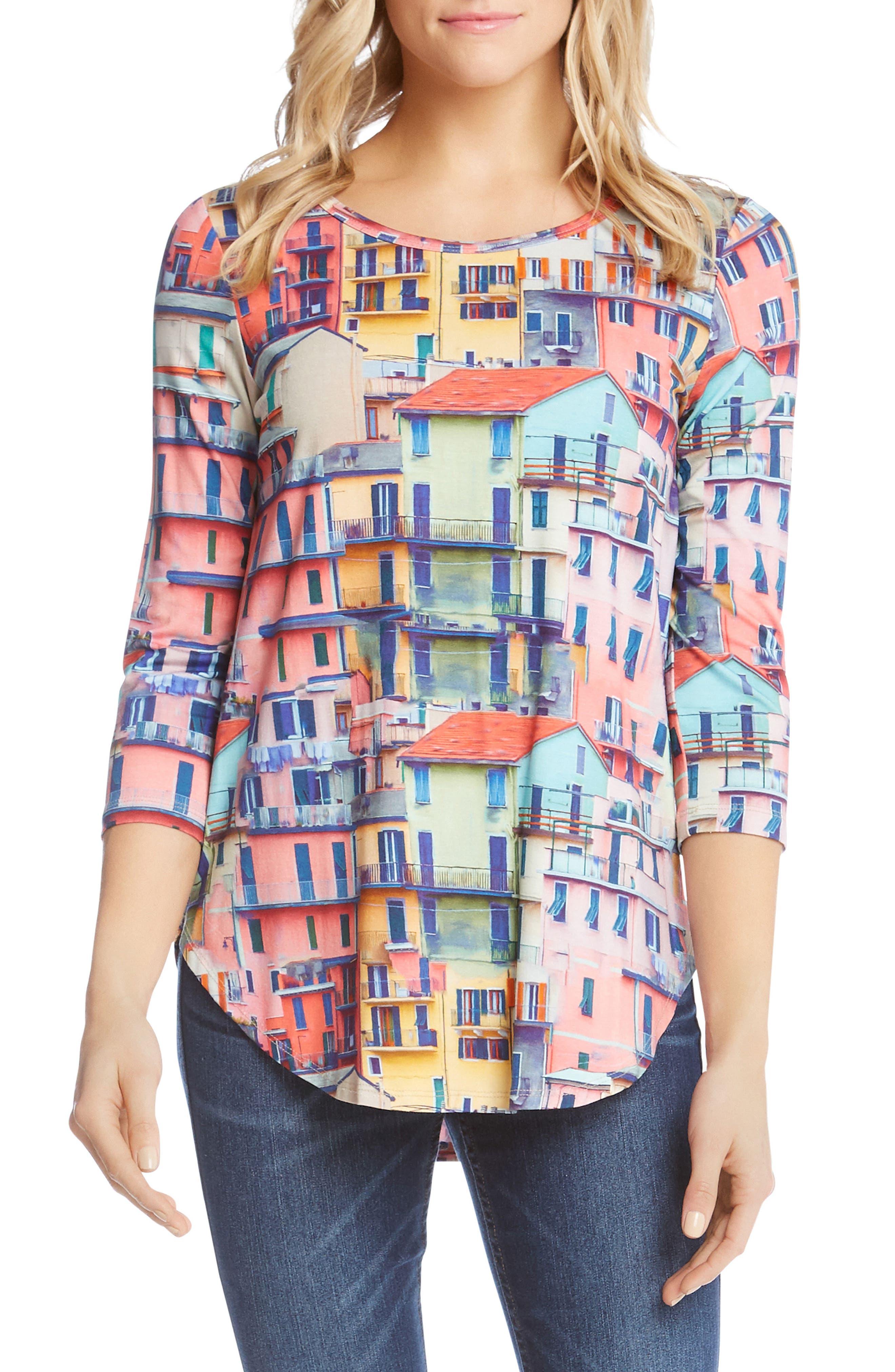 Rainbow Rooftops Three-Quarter Sleeve Tee,                         Main,                         color, Print