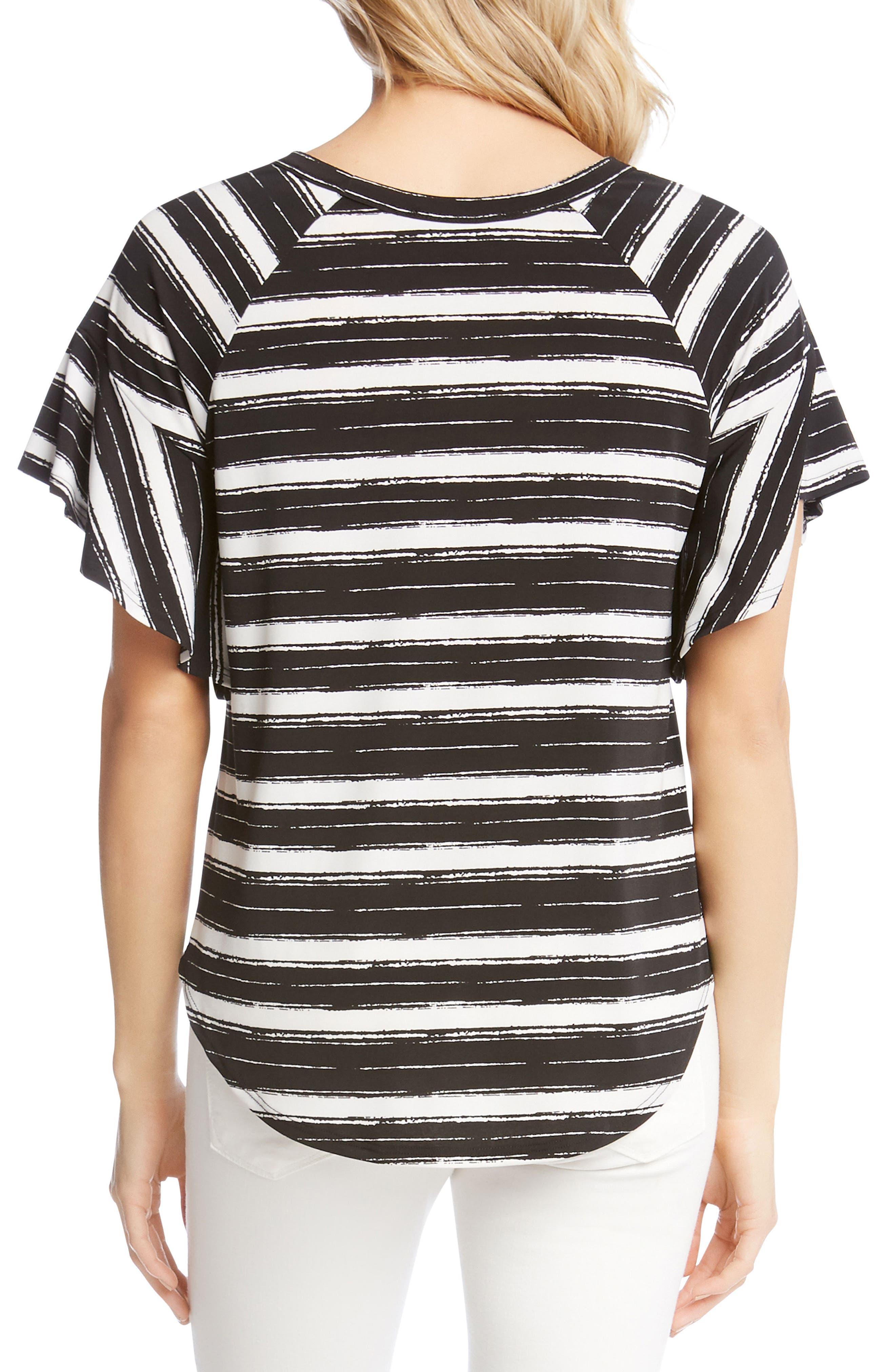 Ruffle Sleeve Stripe Top,                             Alternate thumbnail 2, color,                             Stripe
