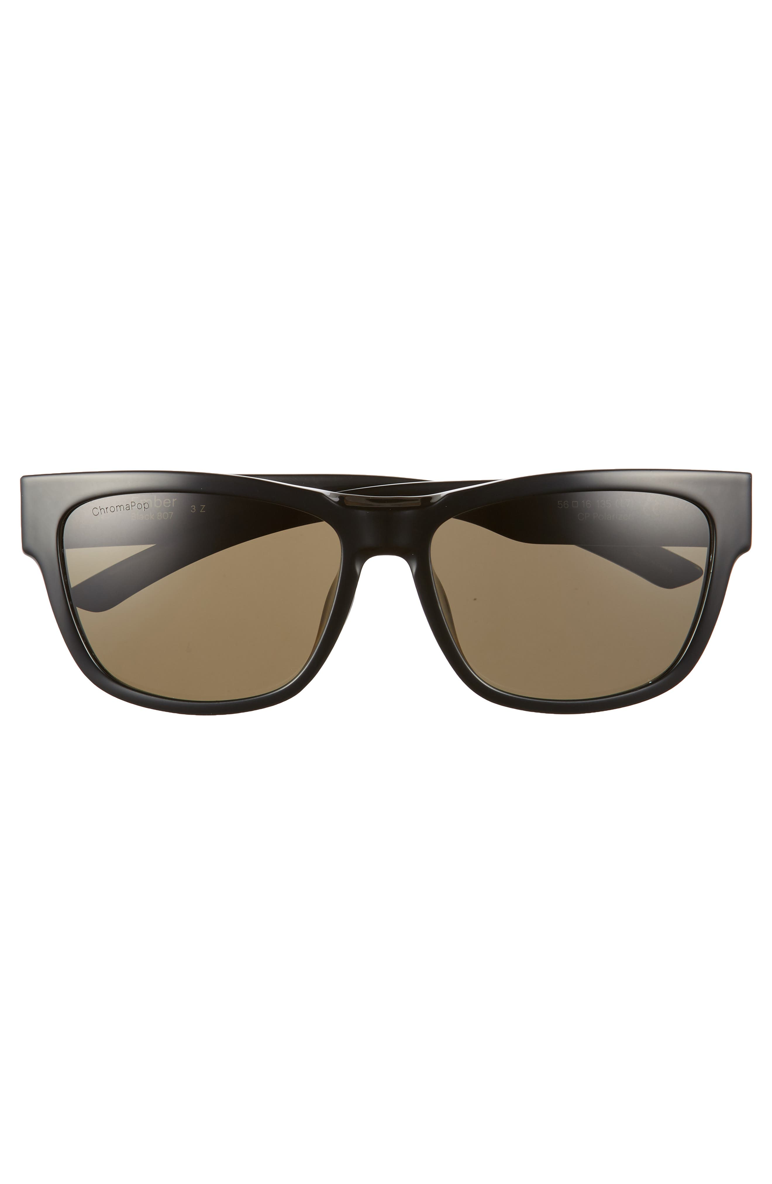 Ember 56mm ChromaPop<sup>™</sup> Square Sunglasses,                             Alternate thumbnail 3, color,                             Black