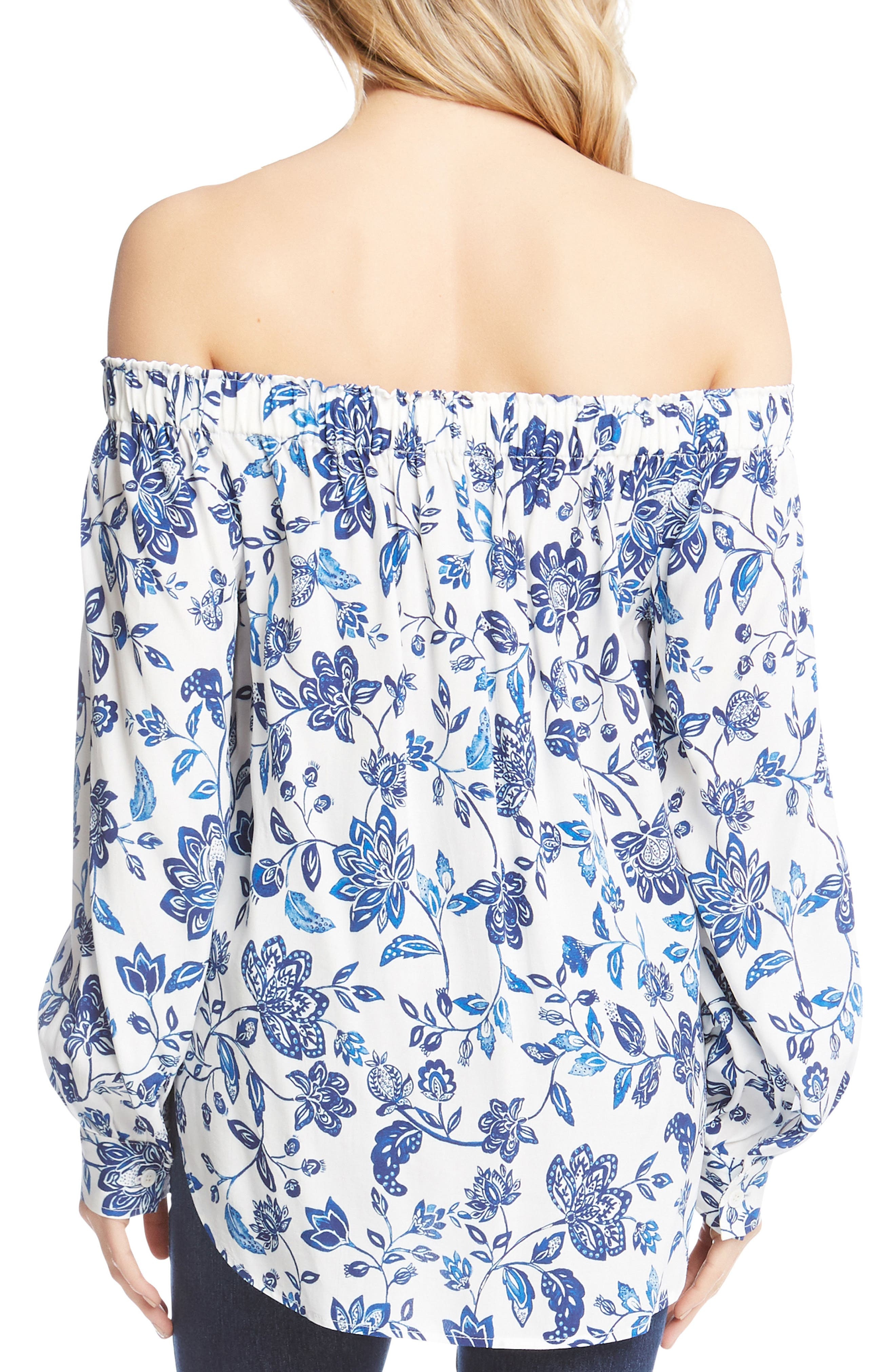 Off the Shoulder High/Low Top,                             Alternate thumbnail 2, color,                             Print