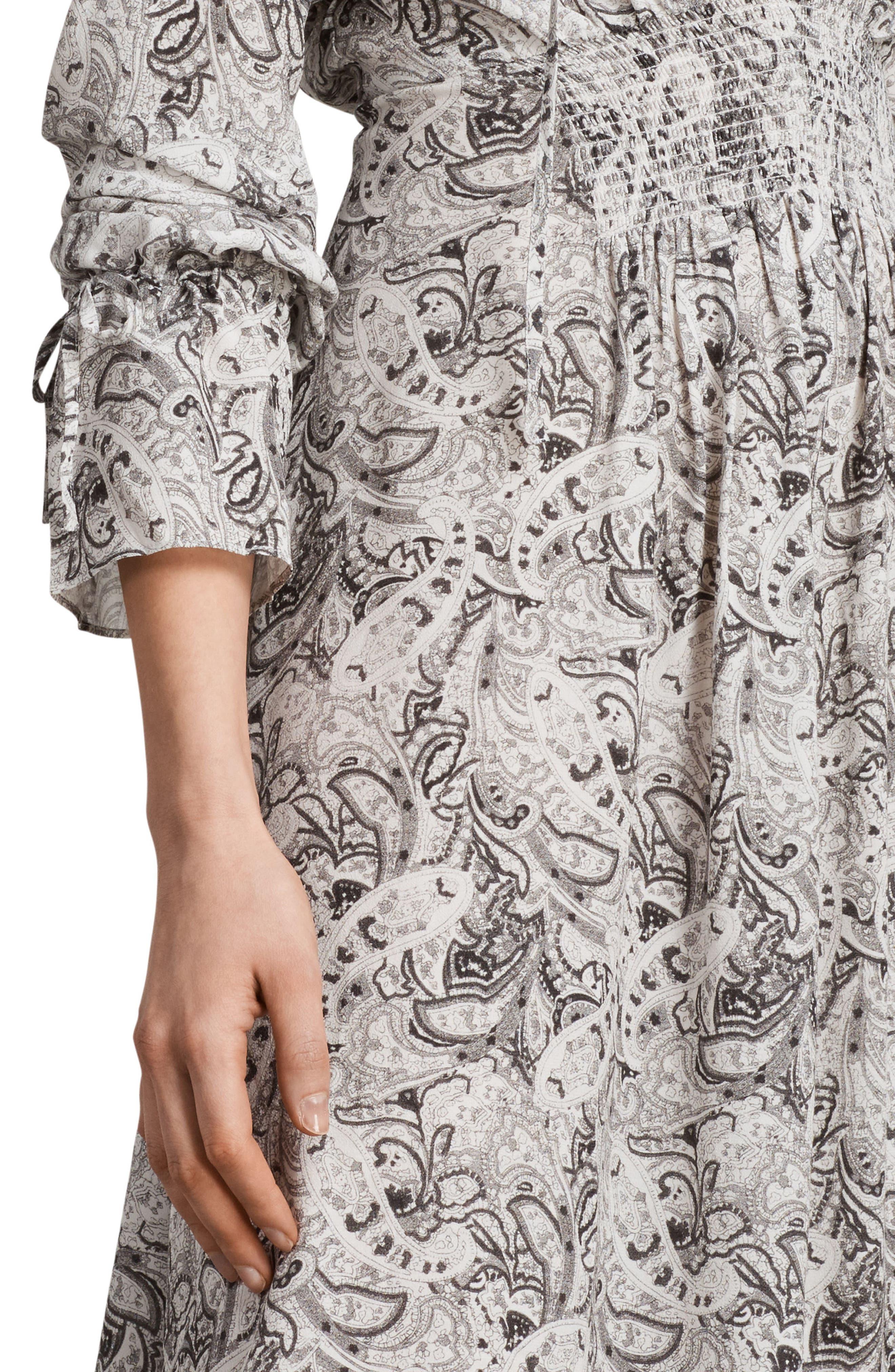 Lavete Paisley Cold Shoulder Midi Dress,                             Alternate thumbnail 5, color,                             White