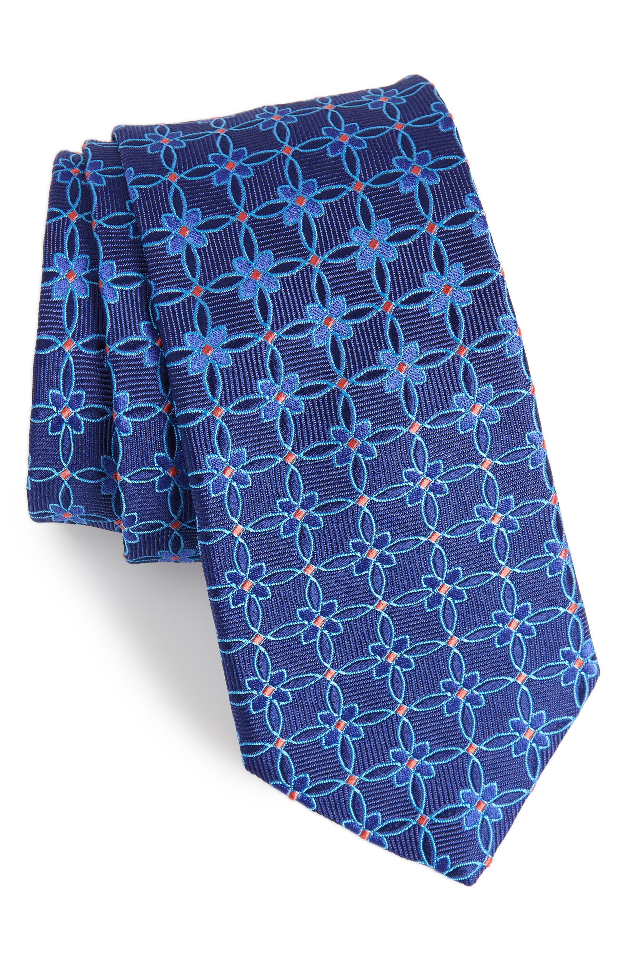 Geometric Silk Tie,                             Main thumbnail 1, color,                             Navy