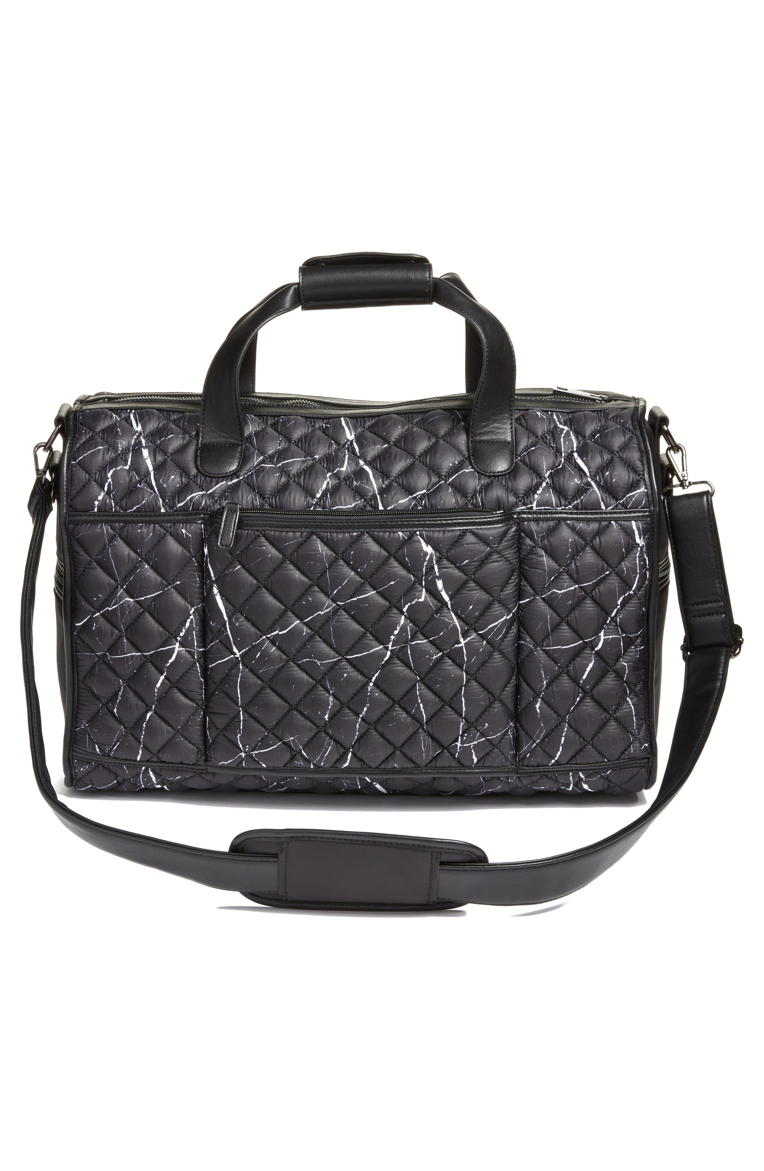 Mara Quilted Duffel Bag,                             Alternate thumbnail 3, color,                             Black Marble
