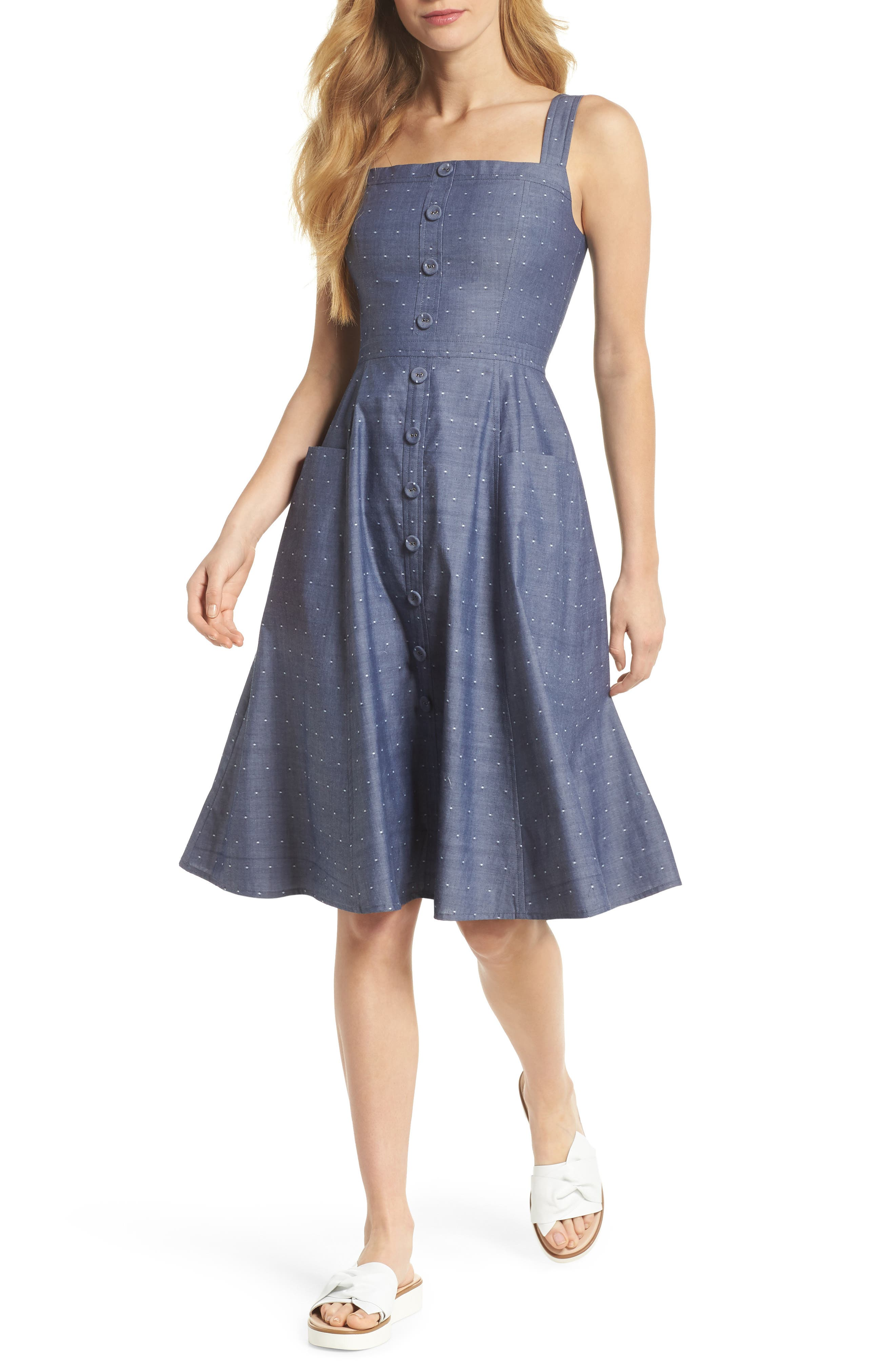 Riley Dot Chambray Fit & Flare Sundress,                             Main thumbnail 1, color,                             Chambray With White