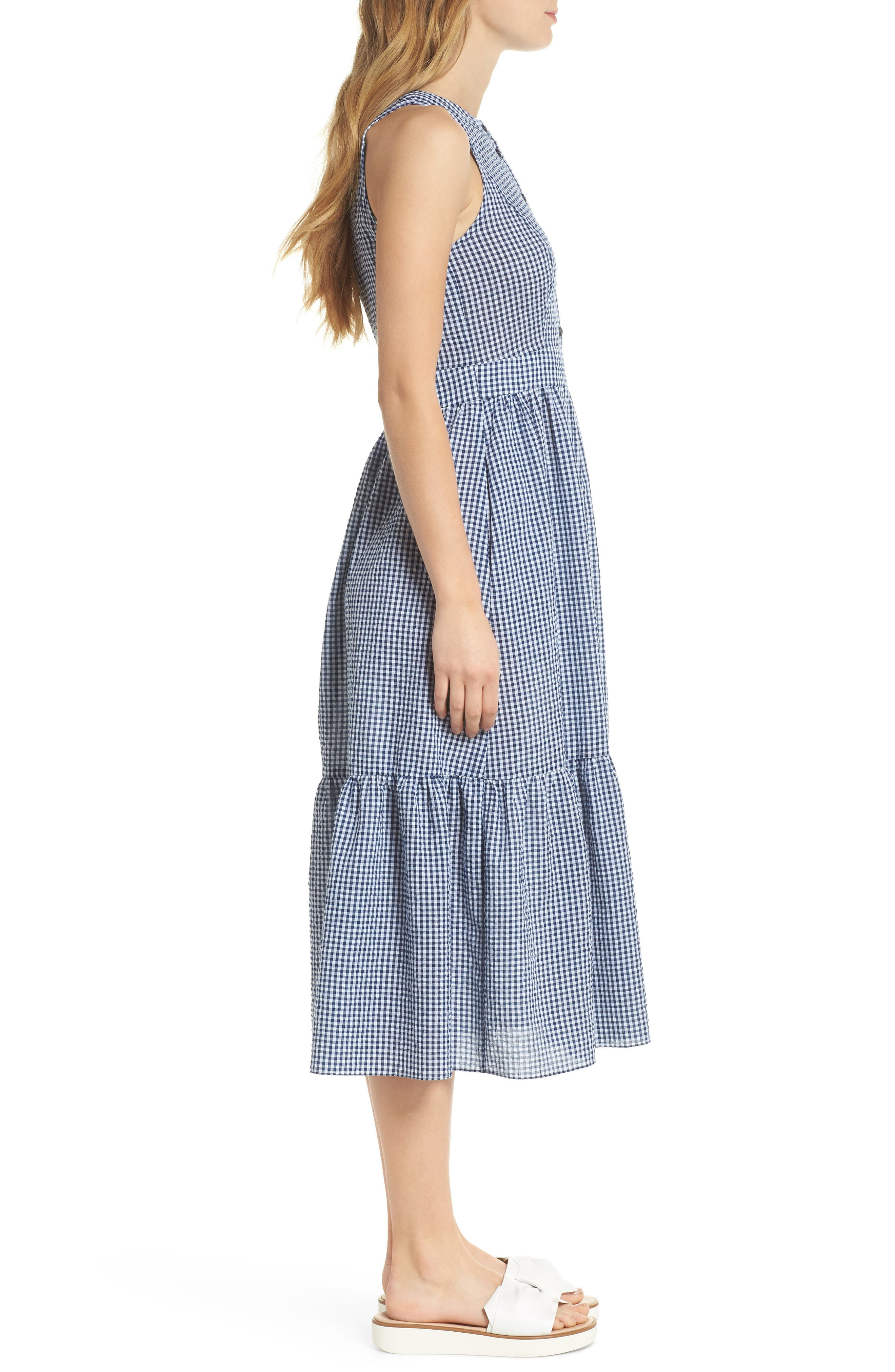 Ardith Gingham Fit & Flare Midi Dress,                             Alternate thumbnail 4, color,                             Blue/ White