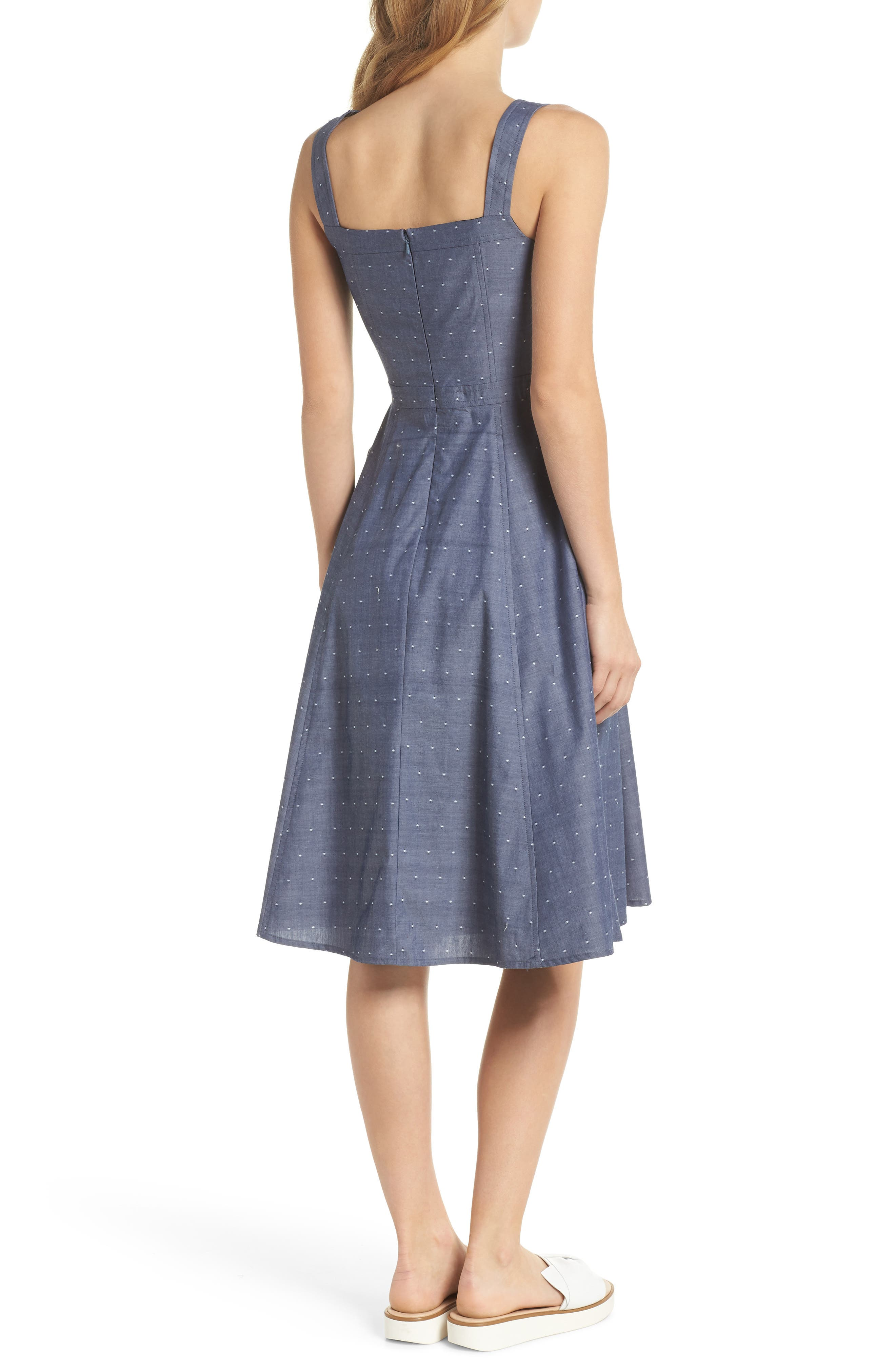 Riley Dot Chambray Fit & Flare Sundress,                             Alternate thumbnail 3, color,                             Chambray With White