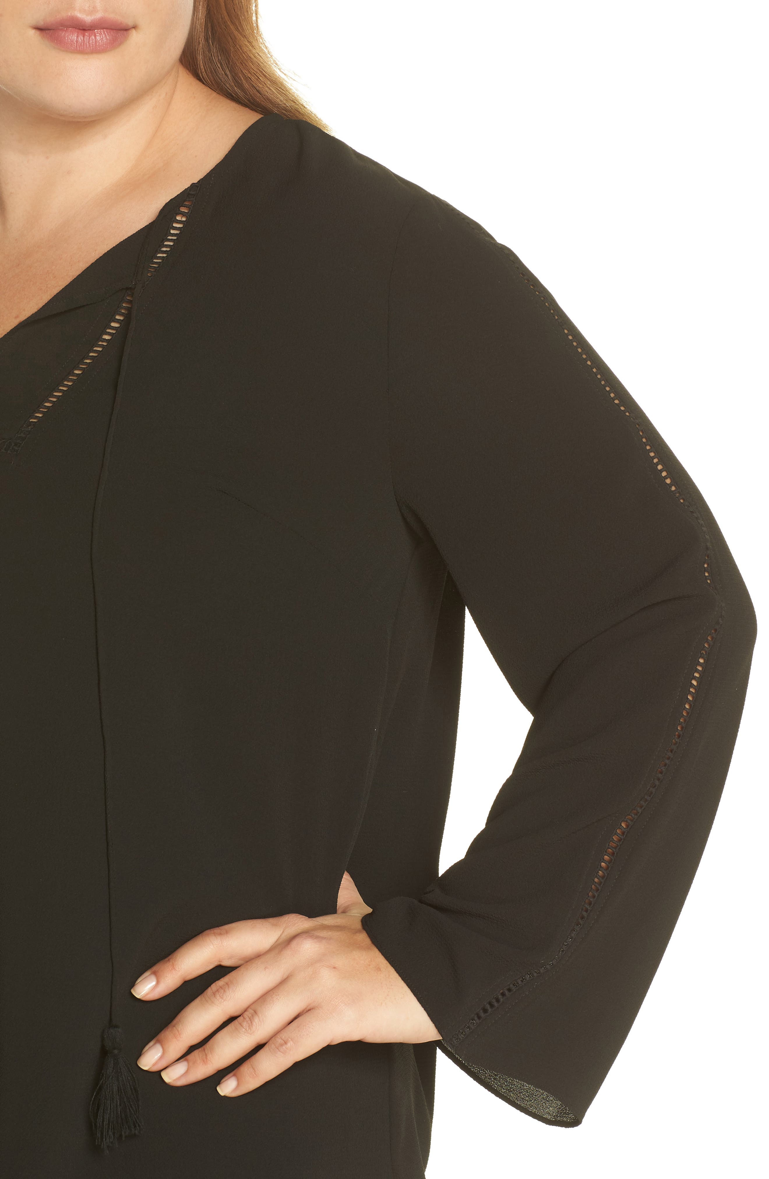 Bell Sleeve Ladder Stitch Top,                             Alternate thumbnail 4, color,                             Rich Black