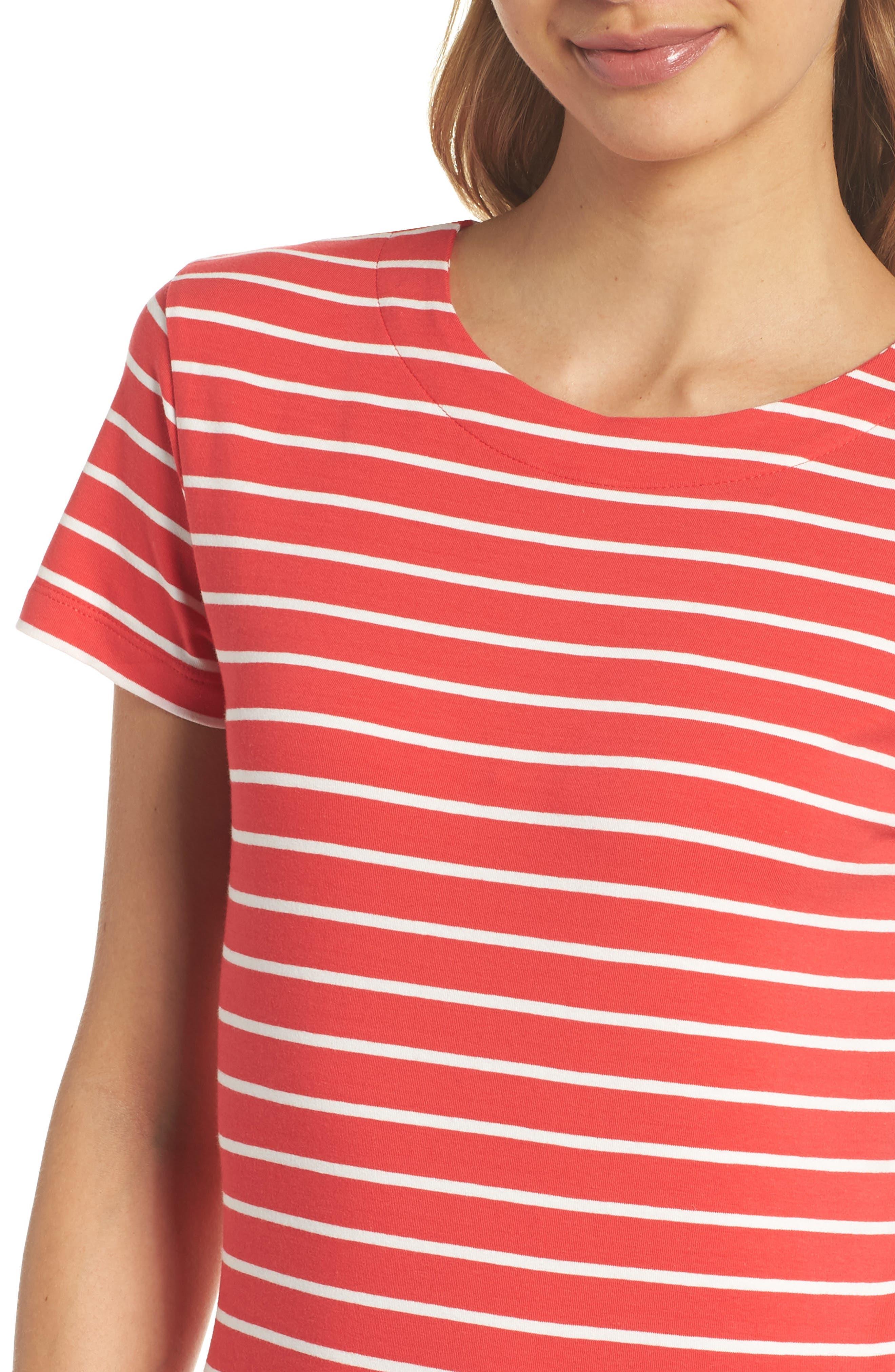 Knit Stripe Body-Con Dress,                             Alternate thumbnail 4, color,                             Shanghai Red/ Summer White