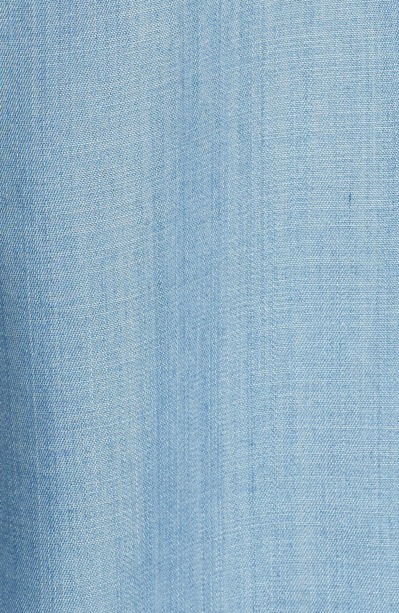 Frayed Edge Linen Chambray Shirt,                             Alternate thumbnail 6, color,                             Vintage