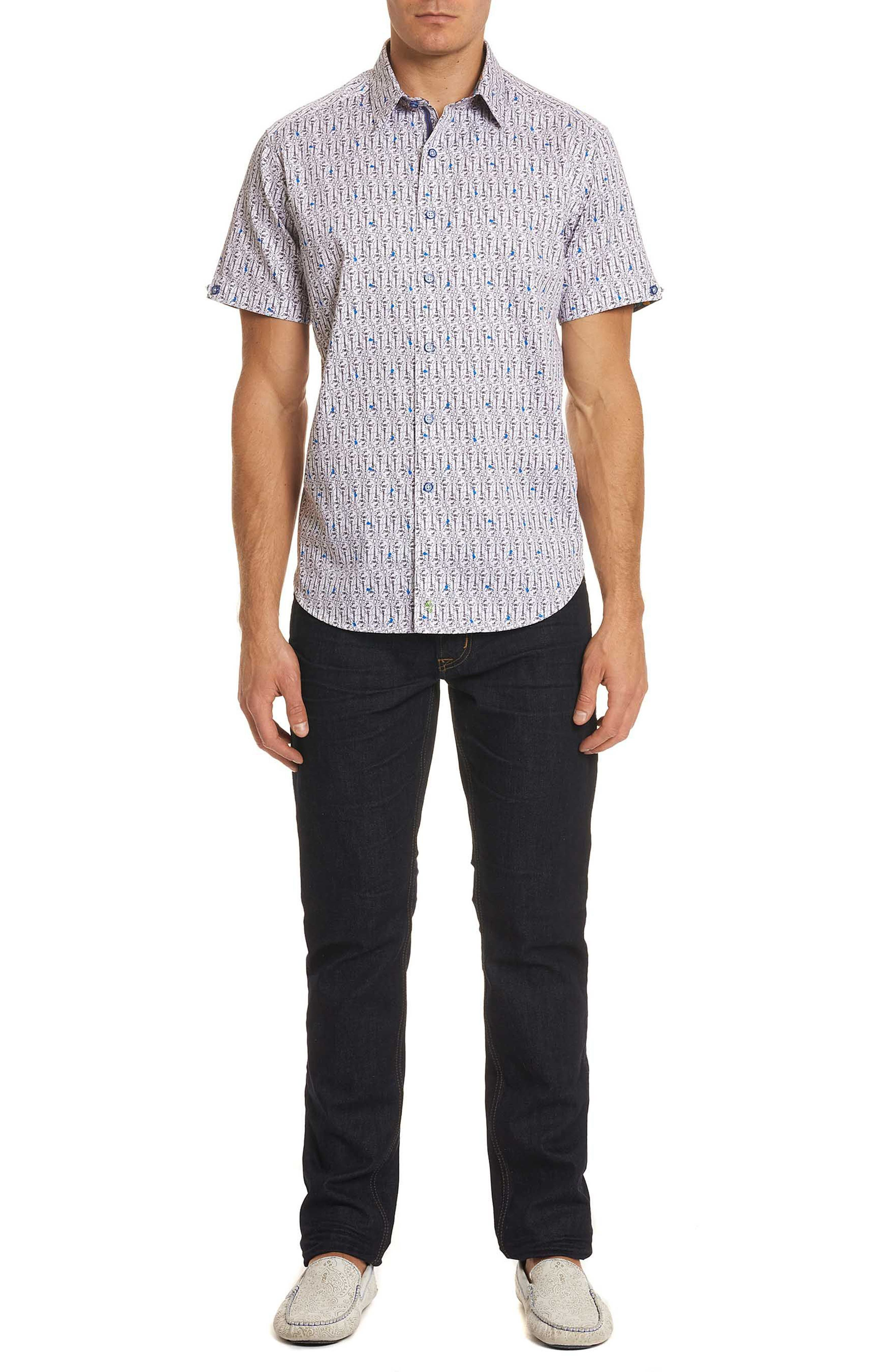 Cuban Tres Classic Fit Print Sport Shirt,                             Alternate thumbnail 8, color,                             White