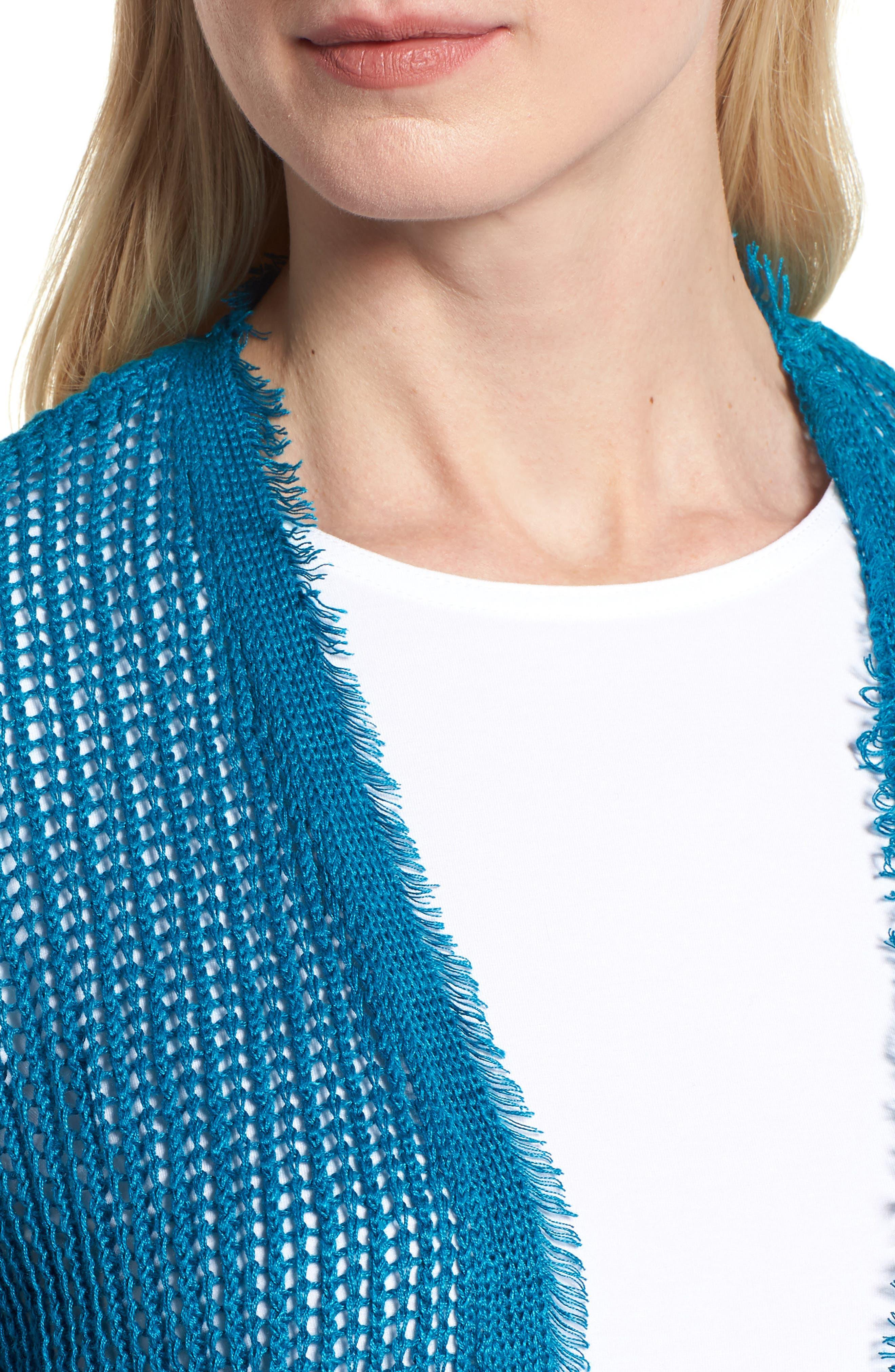 Short Organic Linen Cardigan,                             Alternate thumbnail 4, color,                             Jewel
