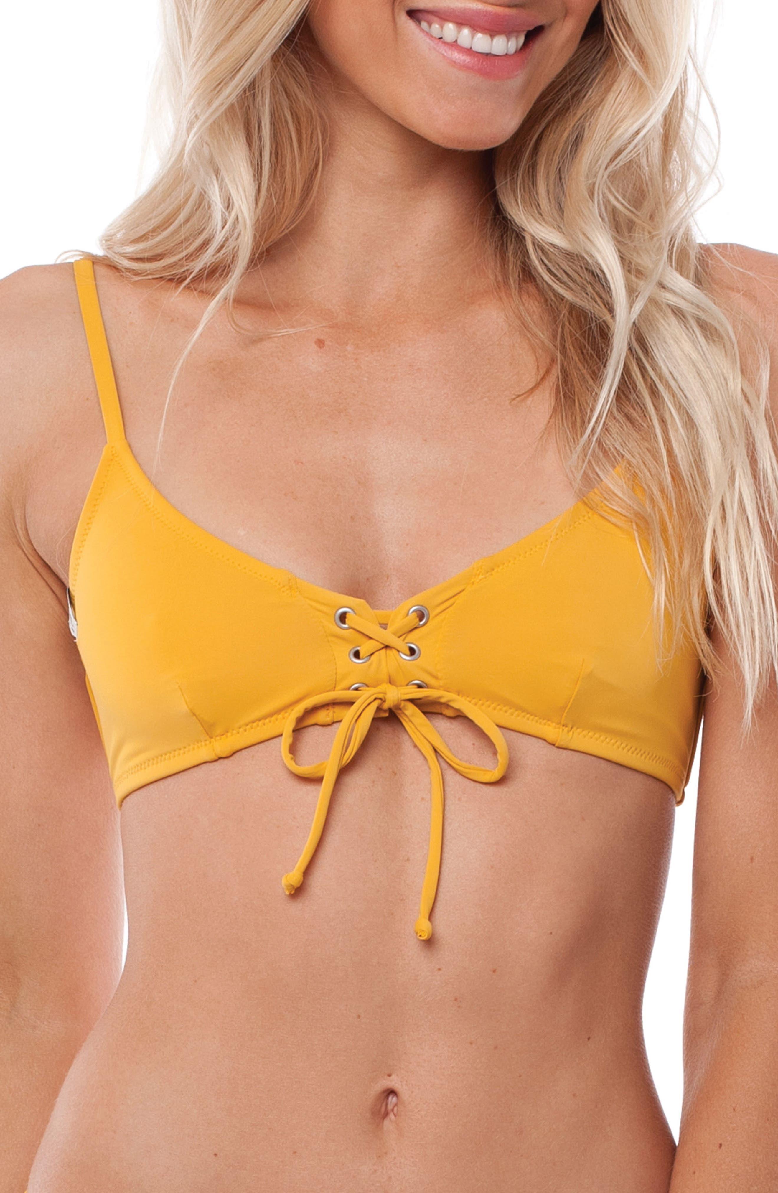 Sunchaser Bikini Top,                         Main,                         color, Marigold