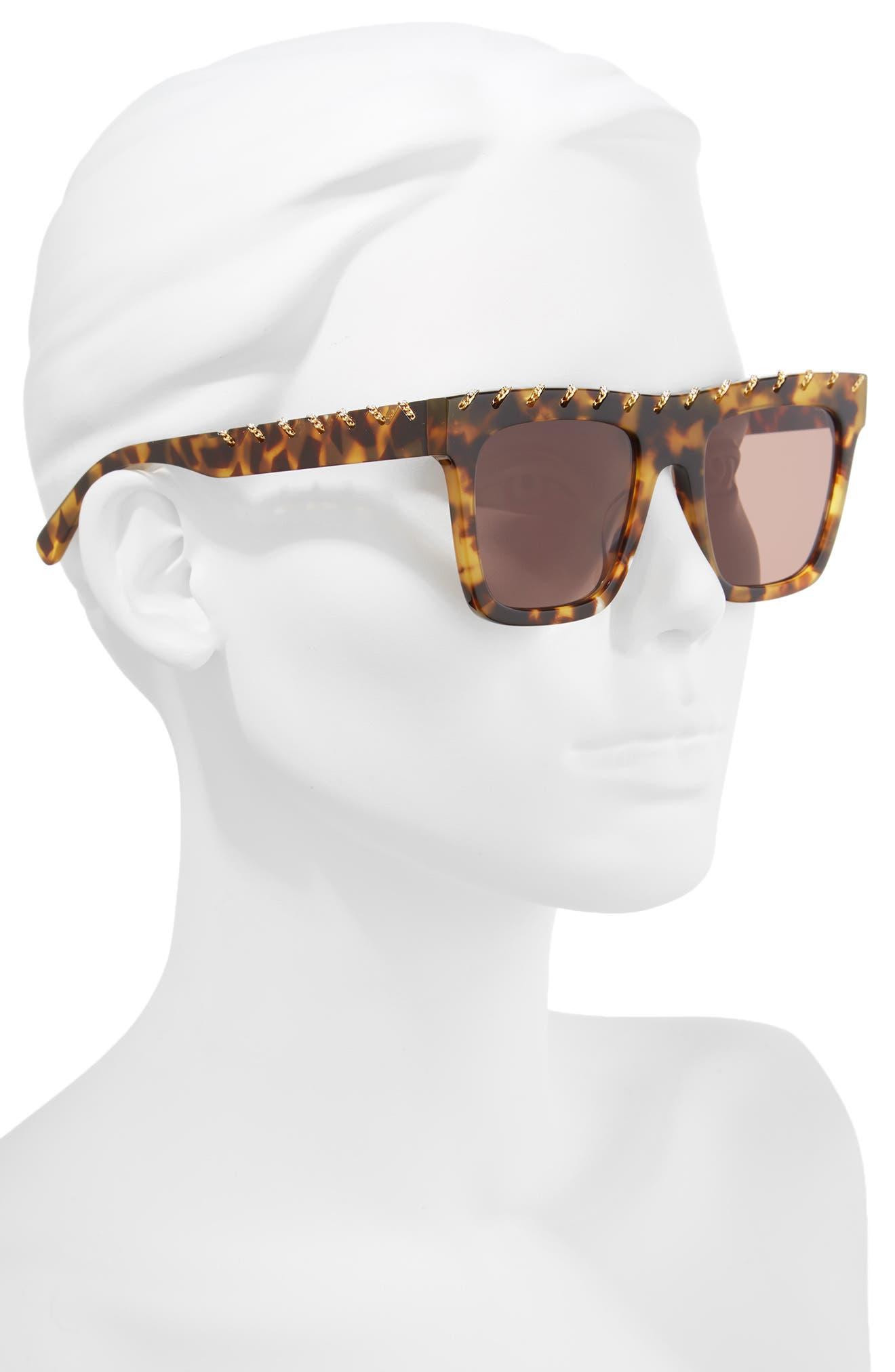 51mm Chain Detail Square Sunglasses,                             Alternate thumbnail 2, color,                             Medium Havana/ Gold