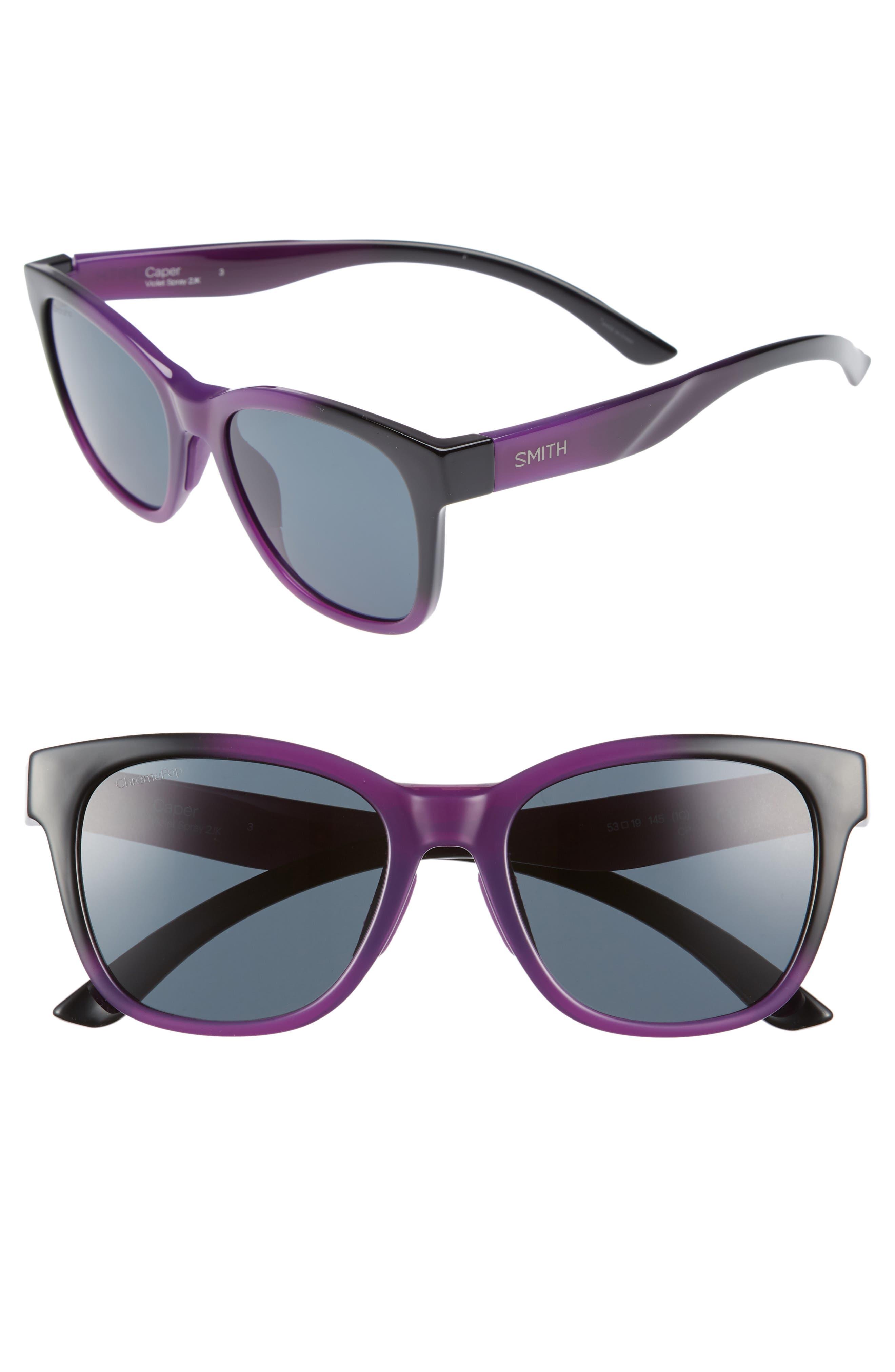 Caper 53mm ChromaPop<sup>™</sup> Square Sunglasses,                         Main,                         color, Violet Spray