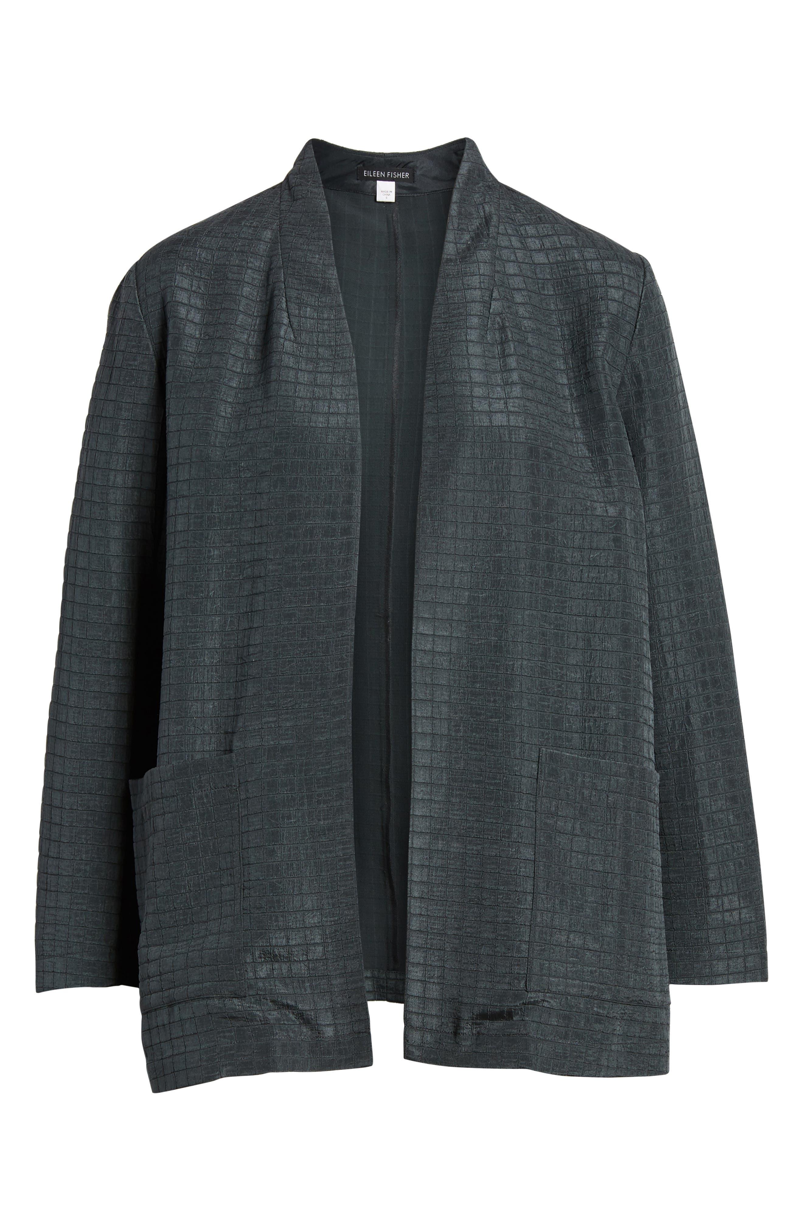 Silk Blend Kimono Jacket,                             Alternate thumbnail 7, color,                             Graphite