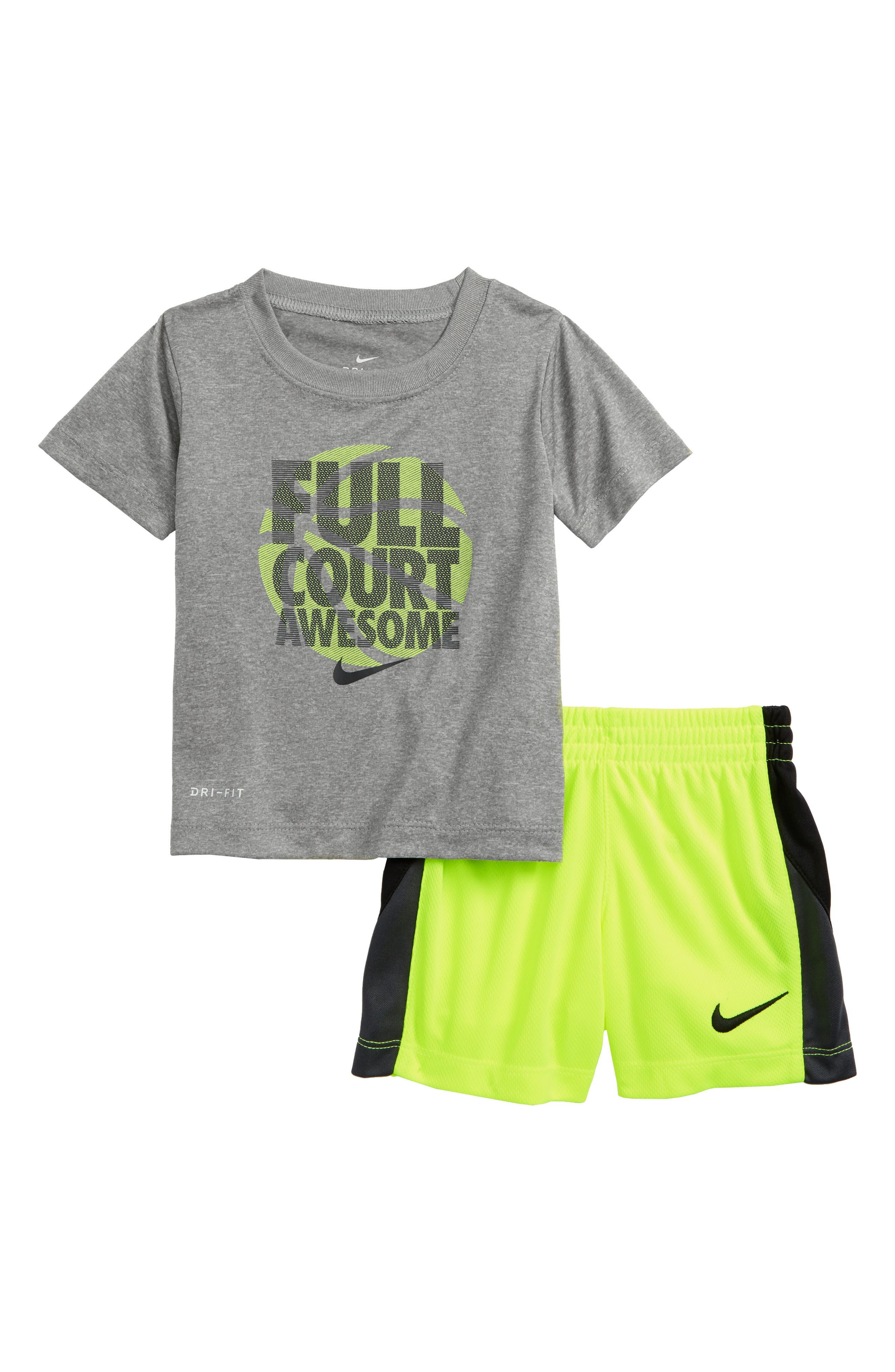 Dry Full Court Awesome Shirt & Shorts Set,                             Main thumbnail 1, color,                             Dark Grey Heather