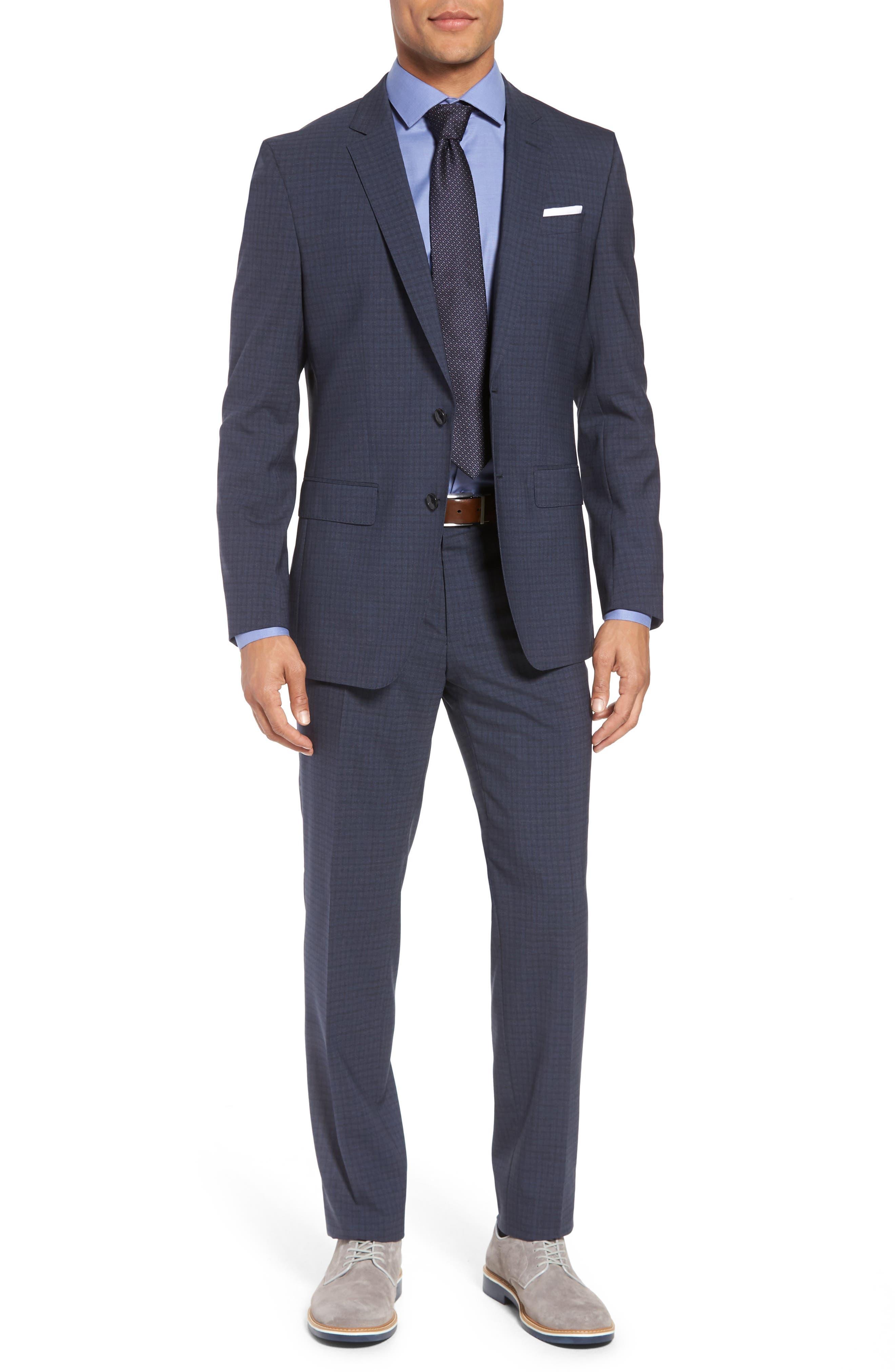 Huge/Genius Trim Fit Check Wool Suit,                         Main,                         color, Blue/ Brown/ Charcoal