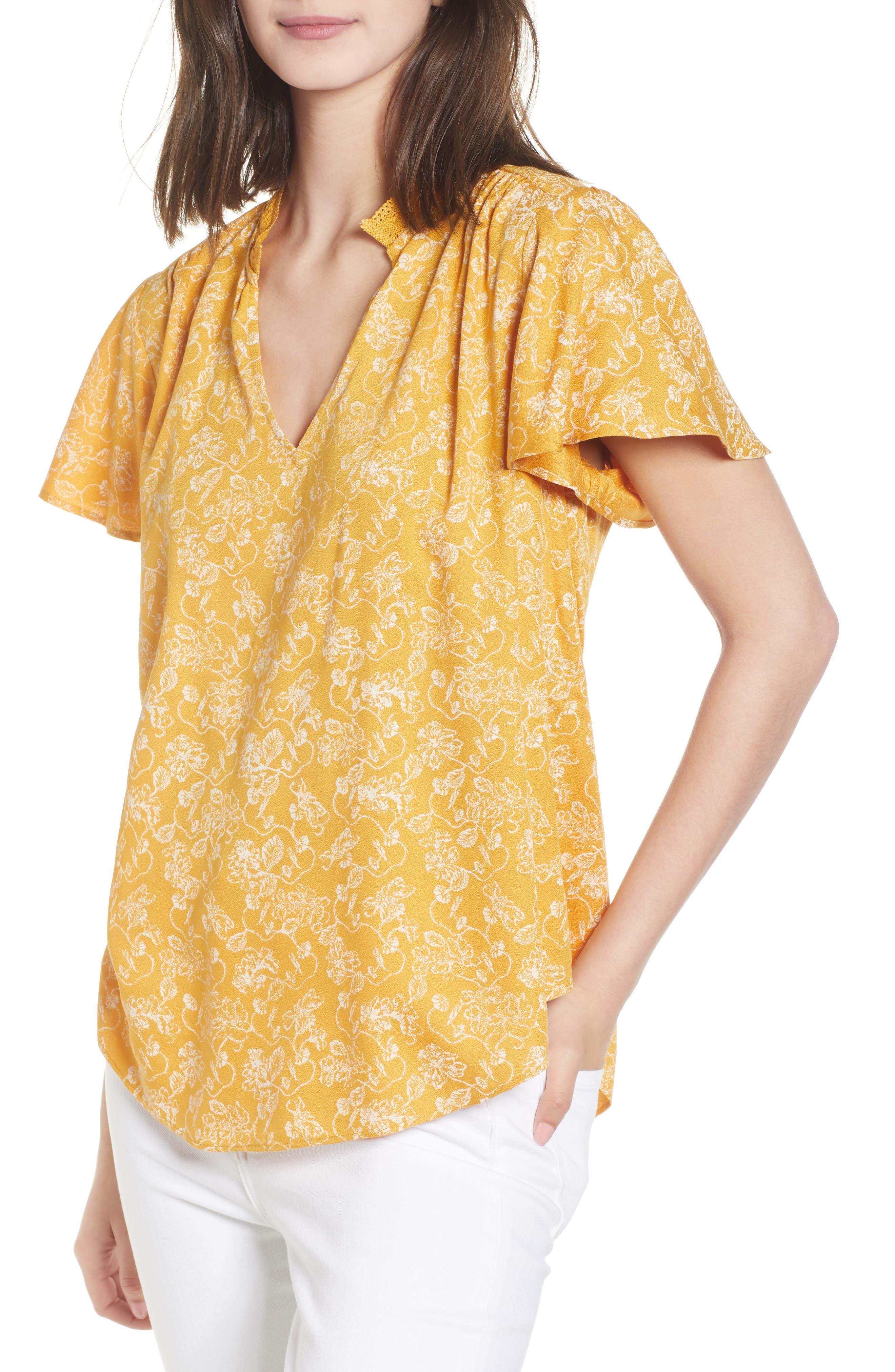 Split Neck Top,                             Main thumbnail 1, color,                             Yellow Gleam Floral Stencil