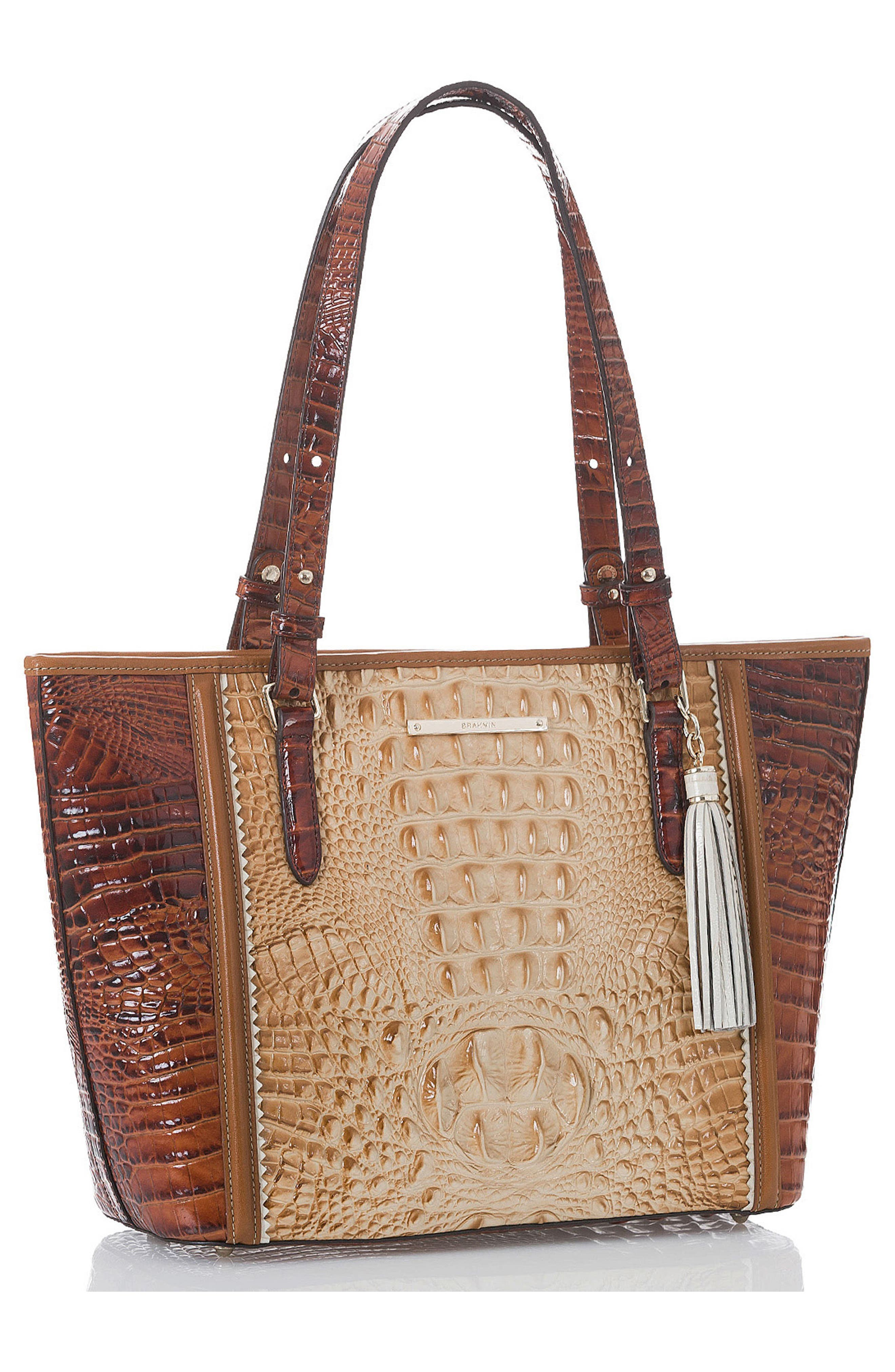 Medium Asher Embossed Leather Tote,                             Alternate thumbnail 4, color,                             Chino