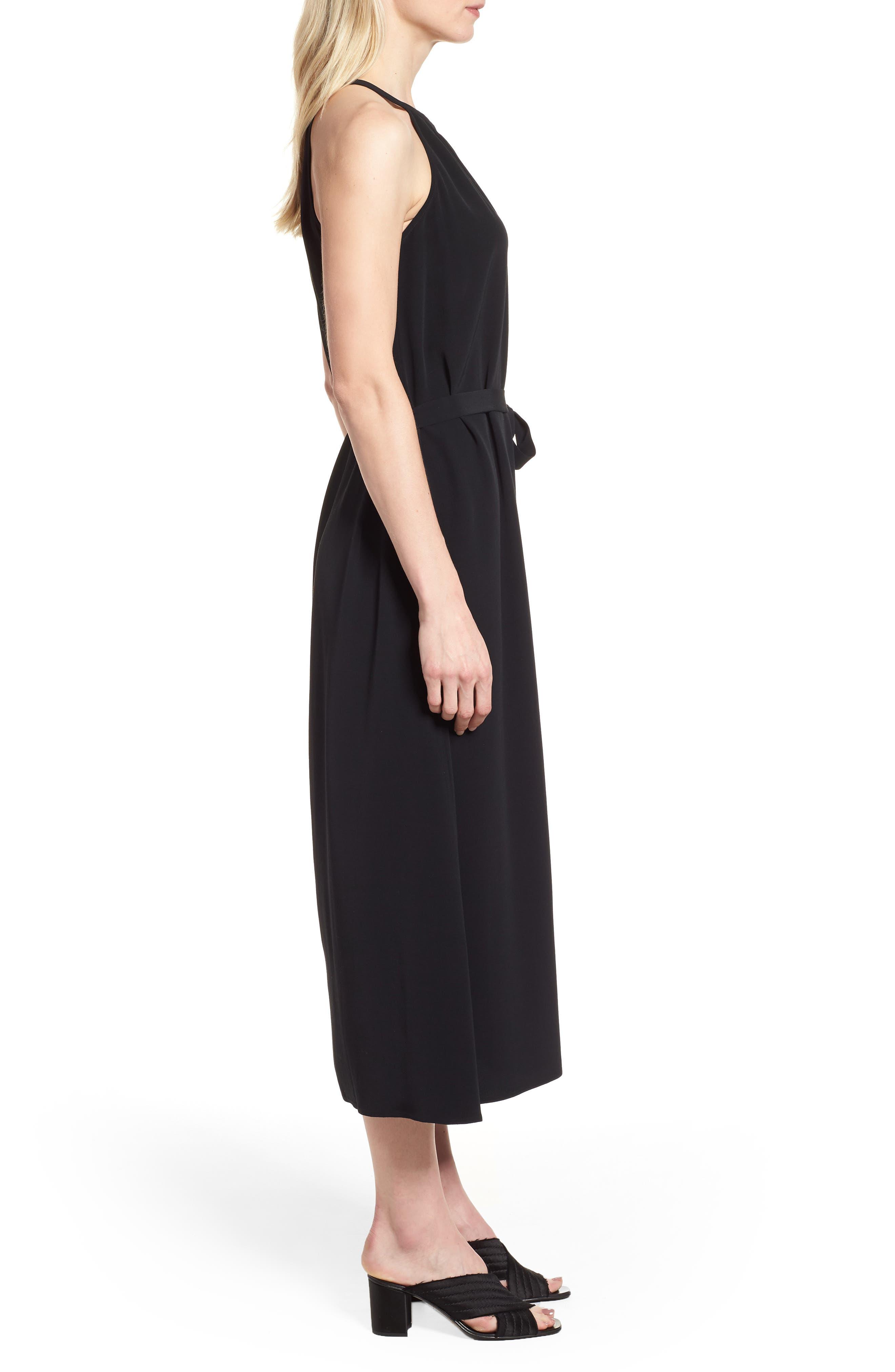 Tencel<sup>®</sup> Lyocell Blend Midi Dress,                             Alternate thumbnail 3, color,                             Black