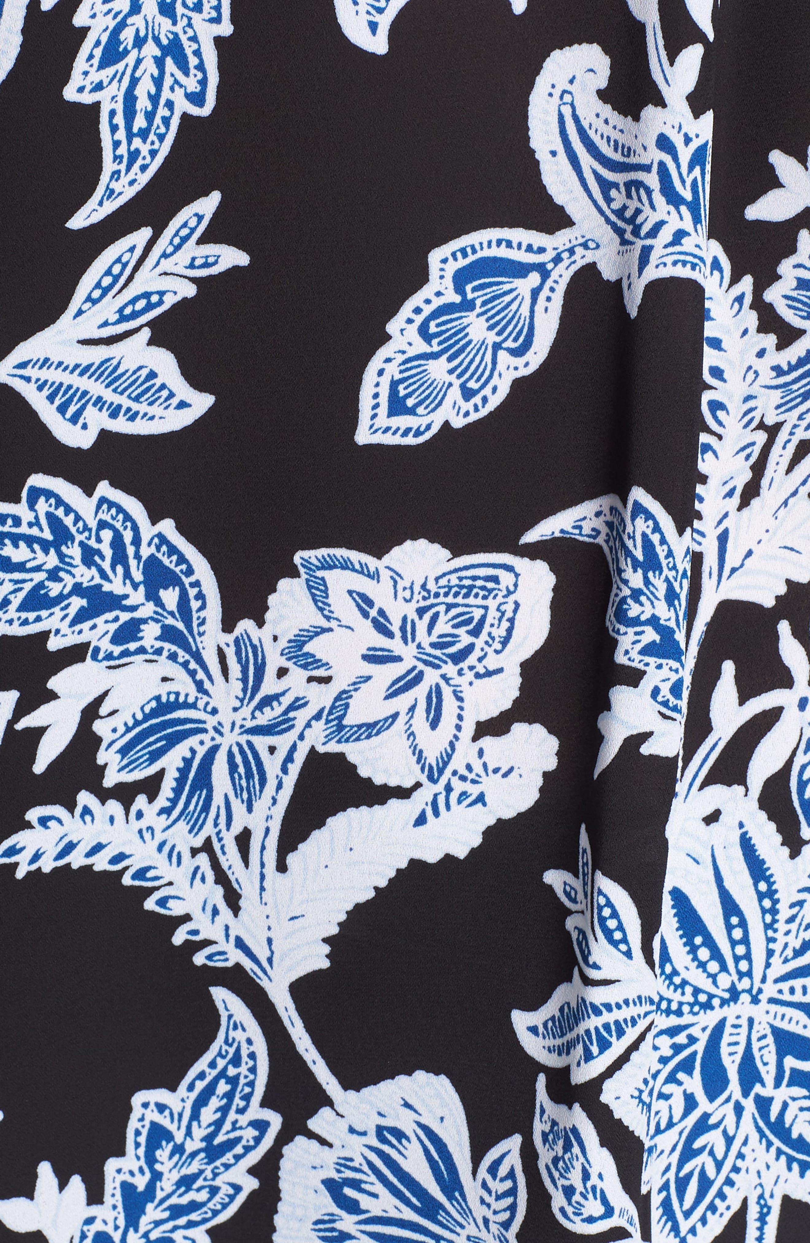 Woodblock Floral Split Neck Top,                             Alternate thumbnail 6, color,                             Rich Black