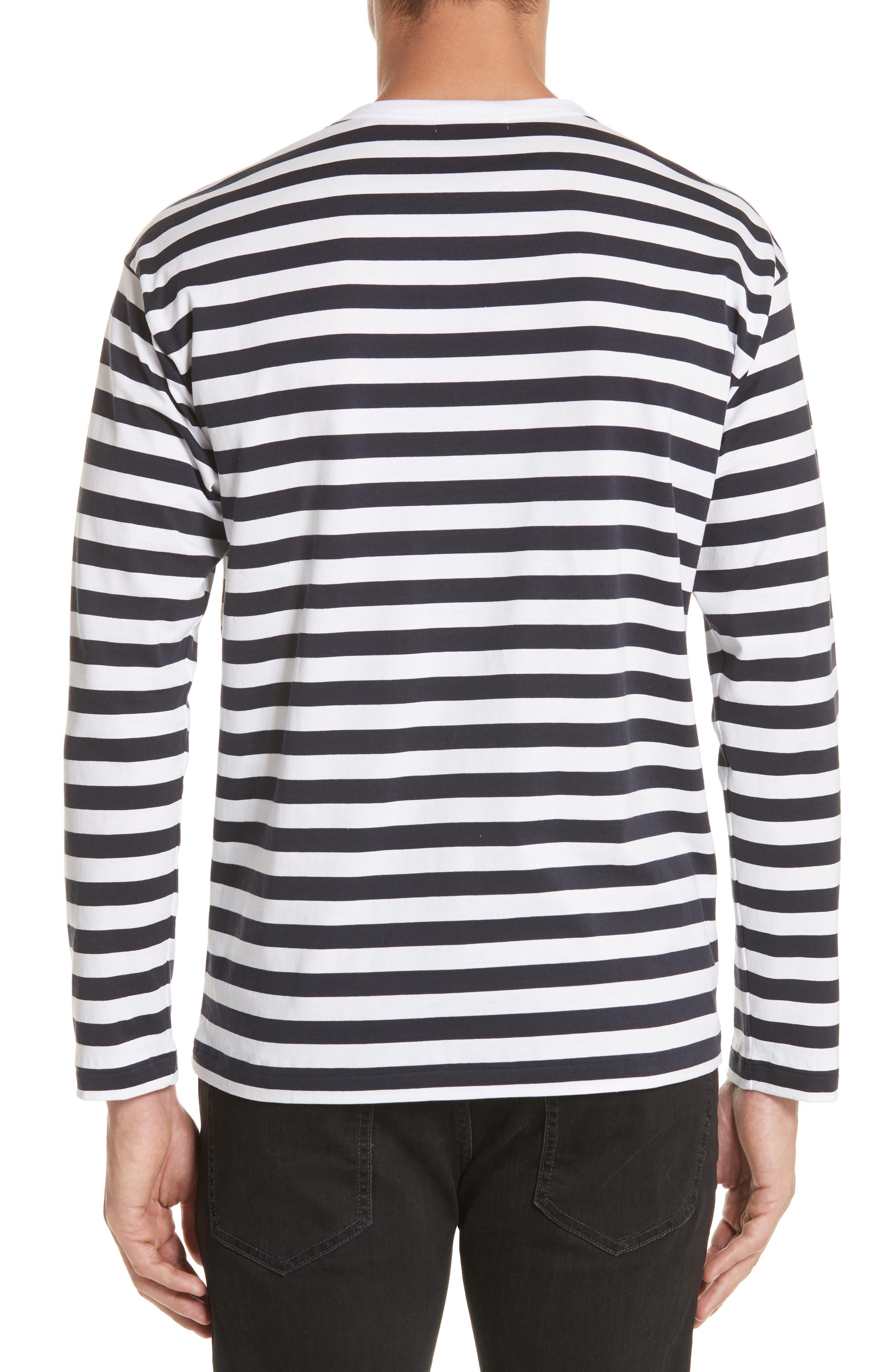 Stripe Long Sleeve T-Shirt,                             Alternate thumbnail 2, color,                             White/Navy