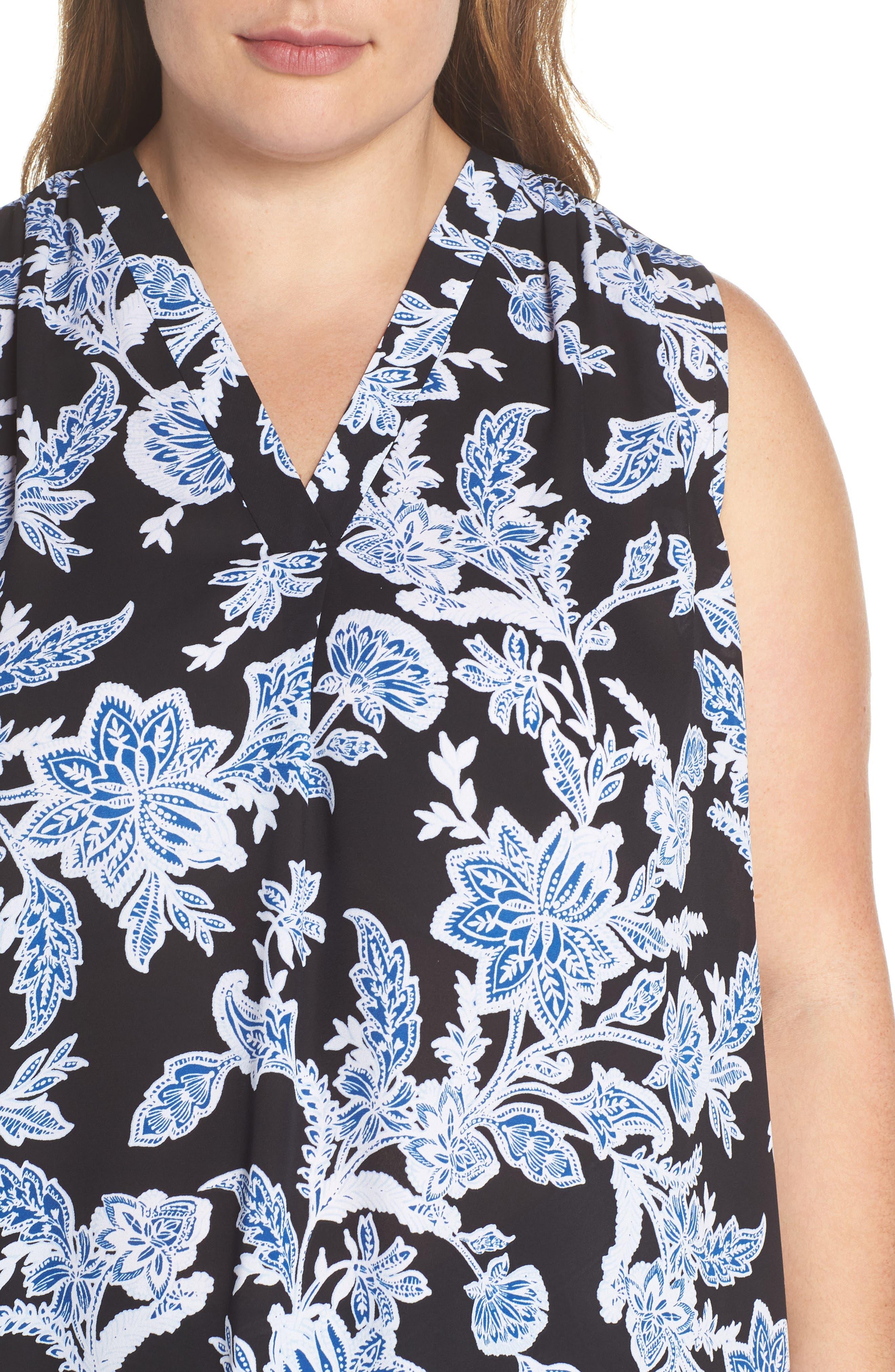 Woodblock Floral Split Neck Top,                             Alternate thumbnail 4, color,                             Rich Black
