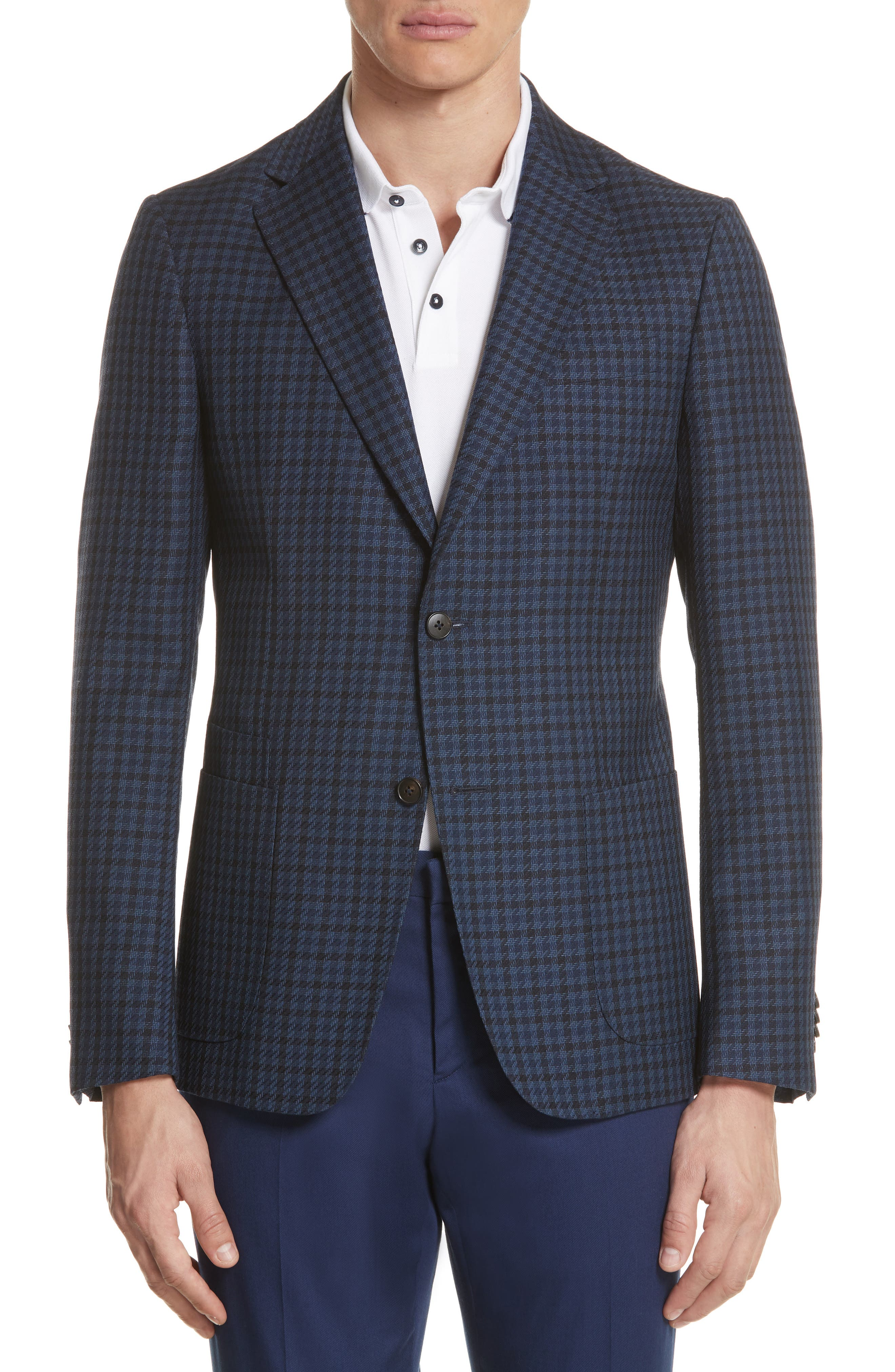 Z Zegna Trim Fit Houndstooth Wool Sport Coat