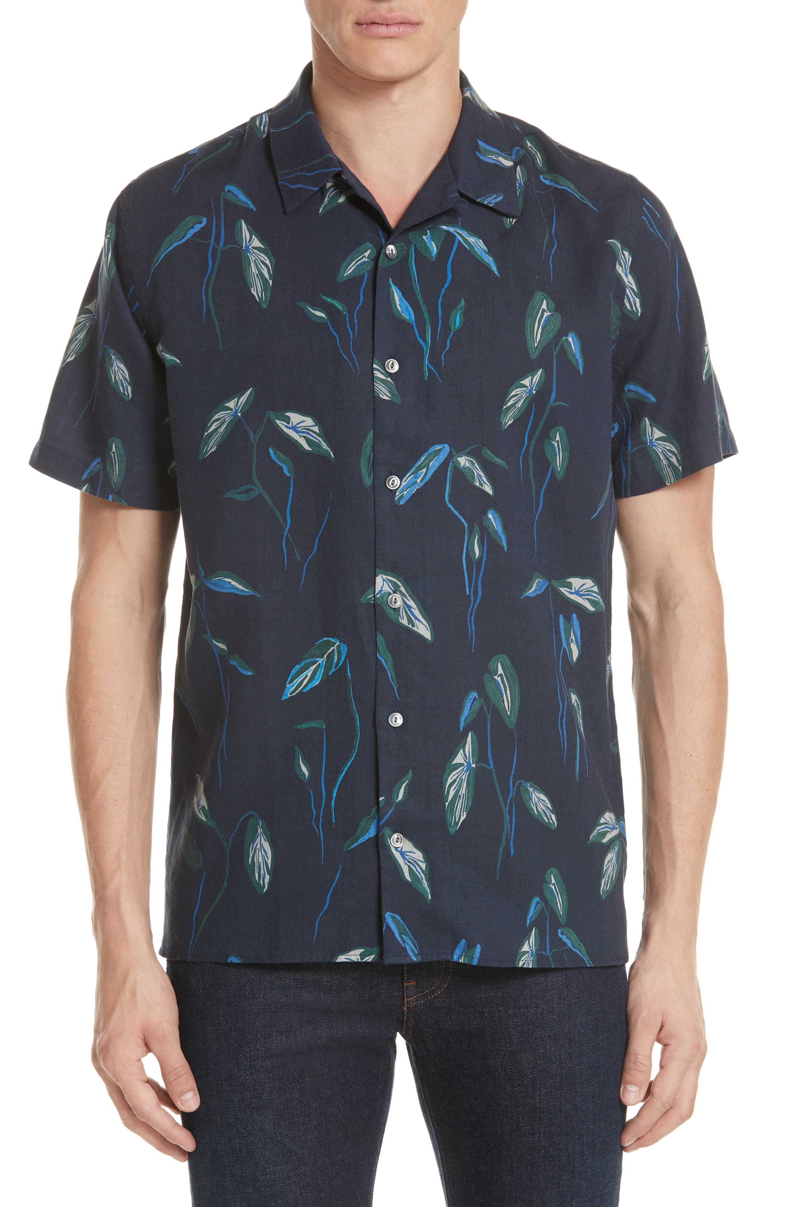 Botanical Print Shirt,                         Main,                         color, Navy