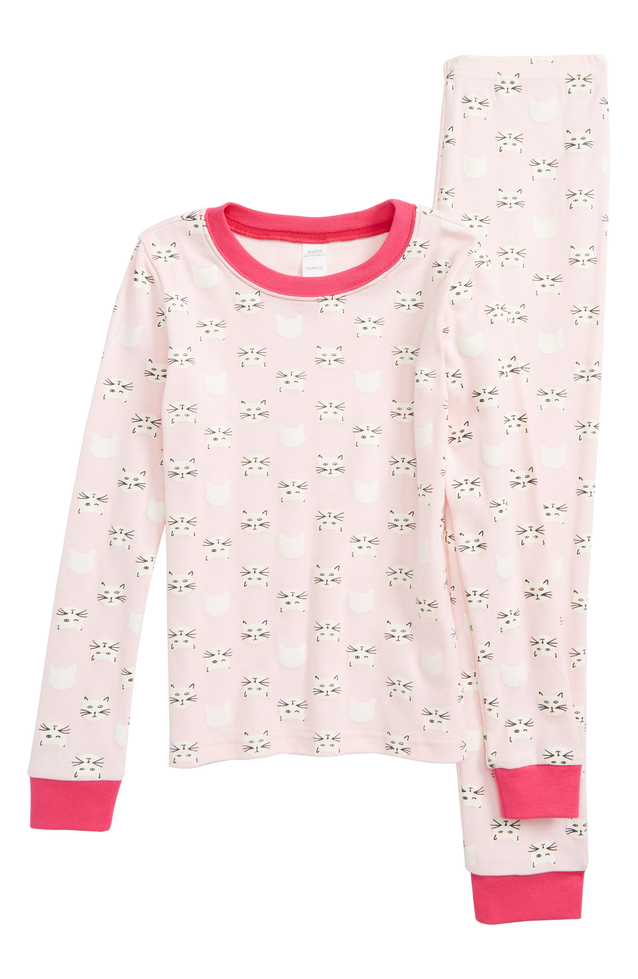 Glow In The Dark Two-Piece Fitted Pajamas,                             Main thumbnail 1, color,                             Pink Baby Kitty Cat