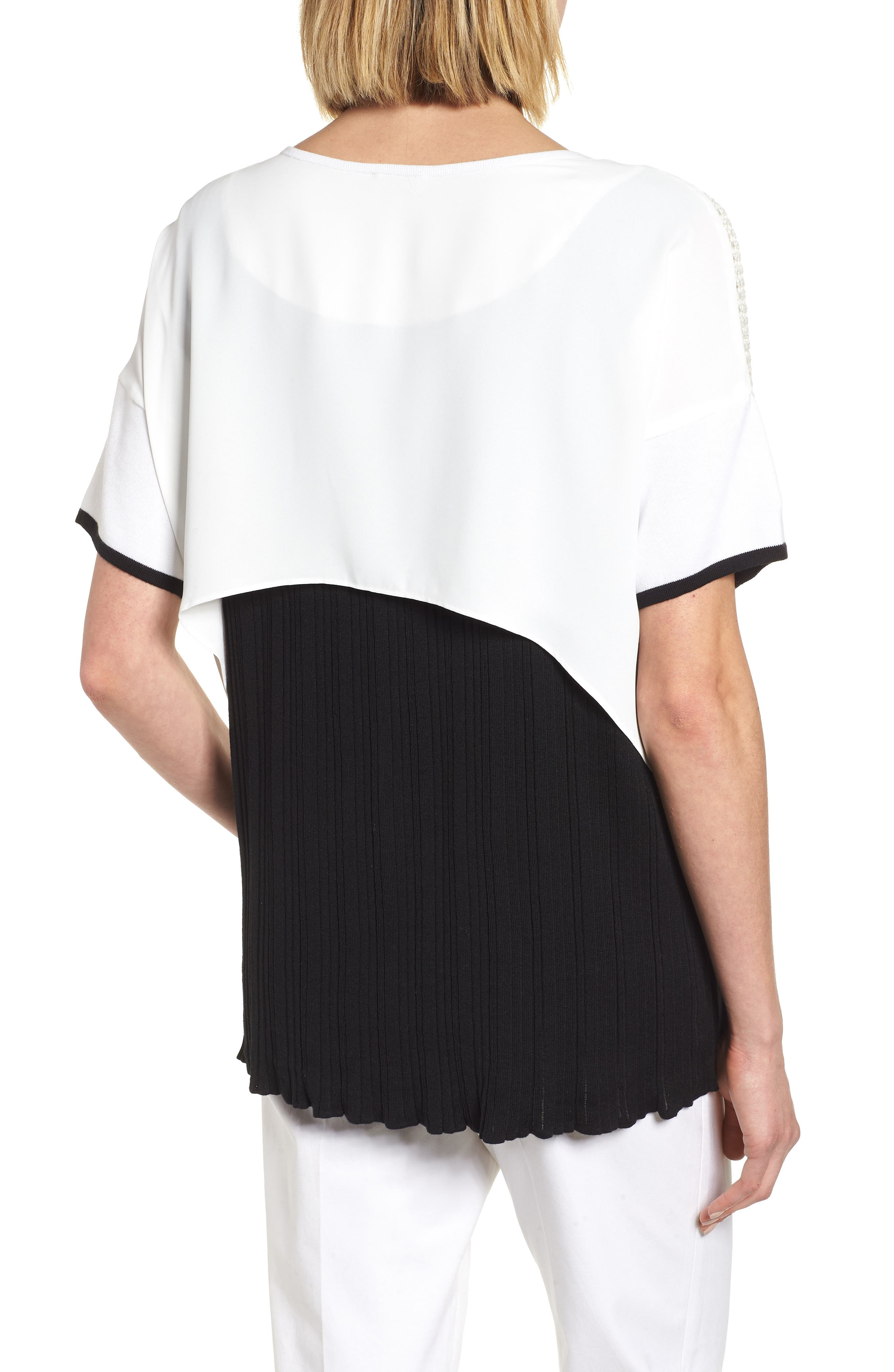 Mixed Media Short Sleeve Tunic Top,                             Alternate thumbnail 2, color,                             White/ Black