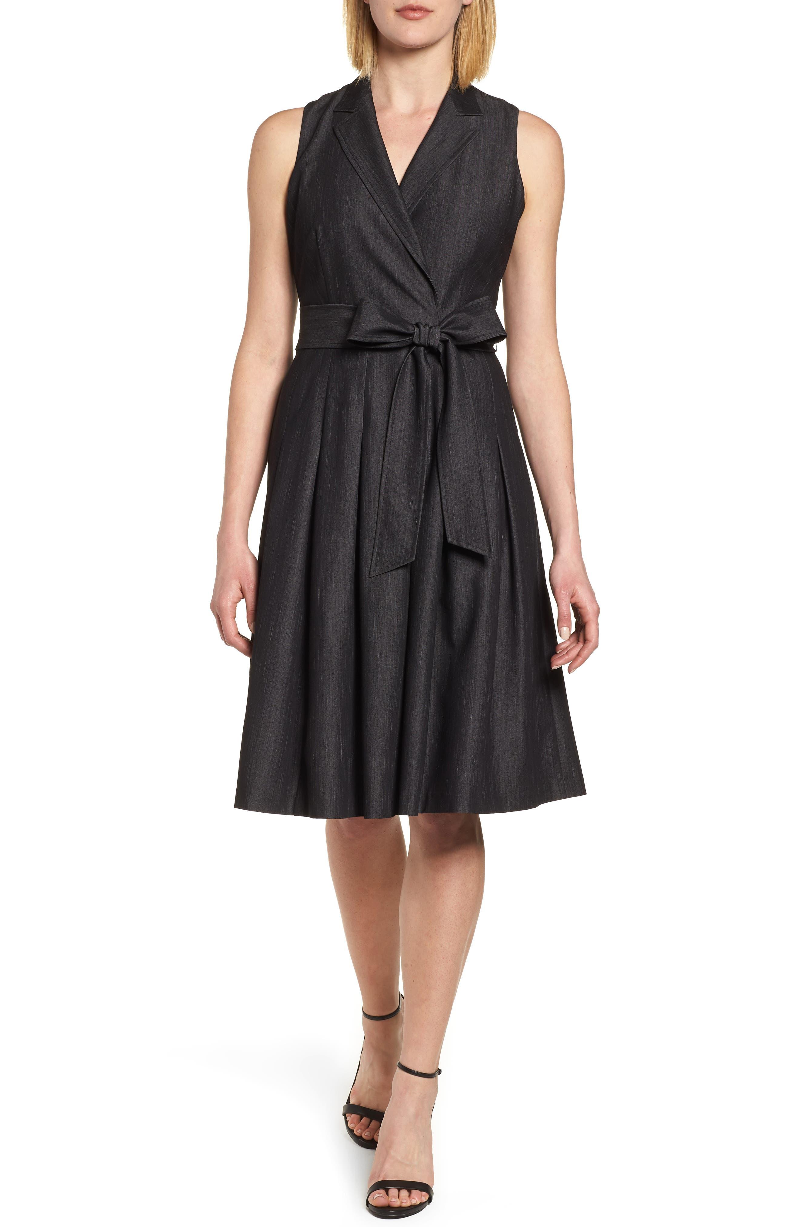 Notch Collar Stretch Denim Dress,                             Main thumbnail 1, color,                             Black