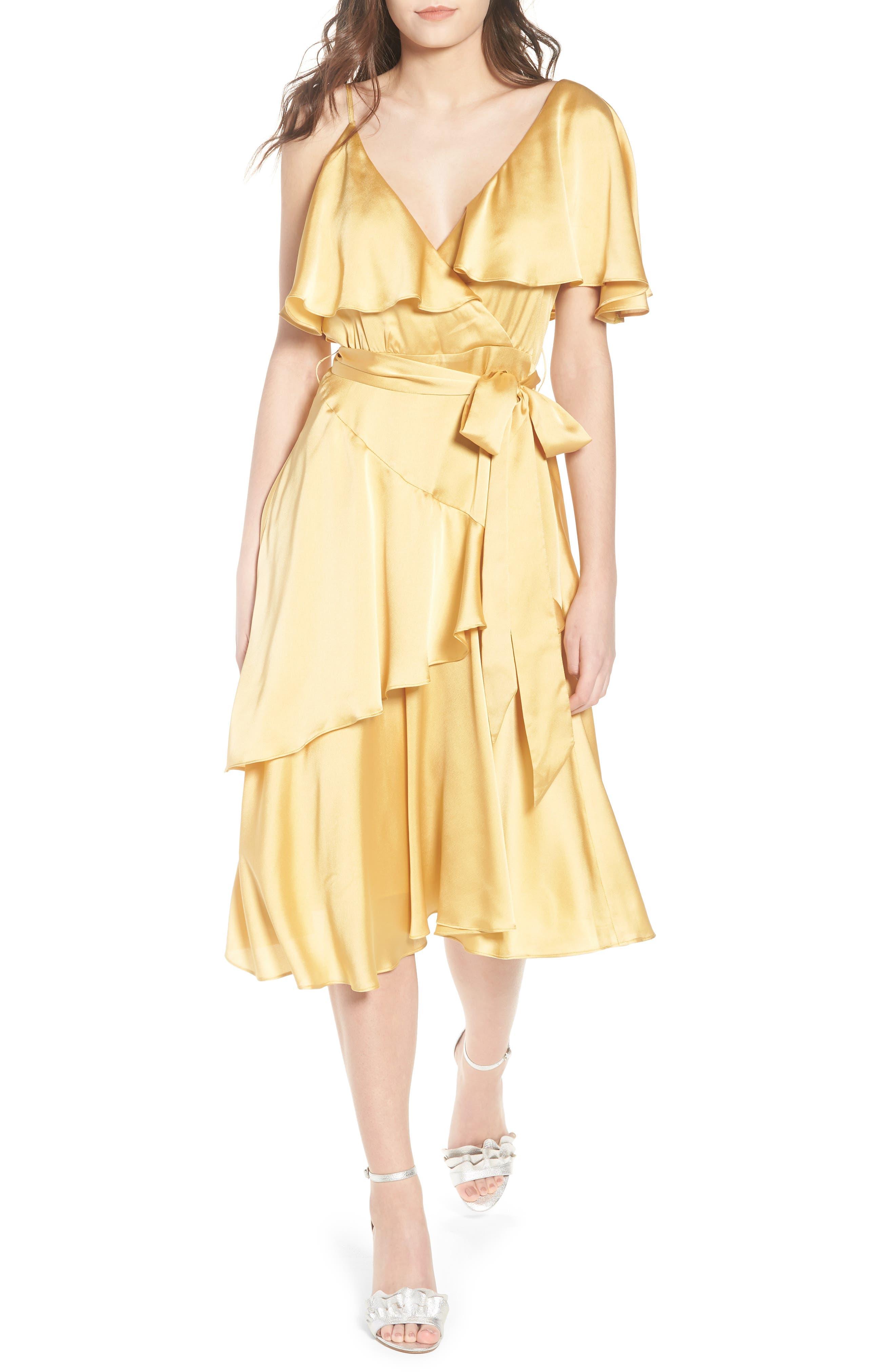 Deconstructed Tea Dress,                         Main,                         color, Yellow