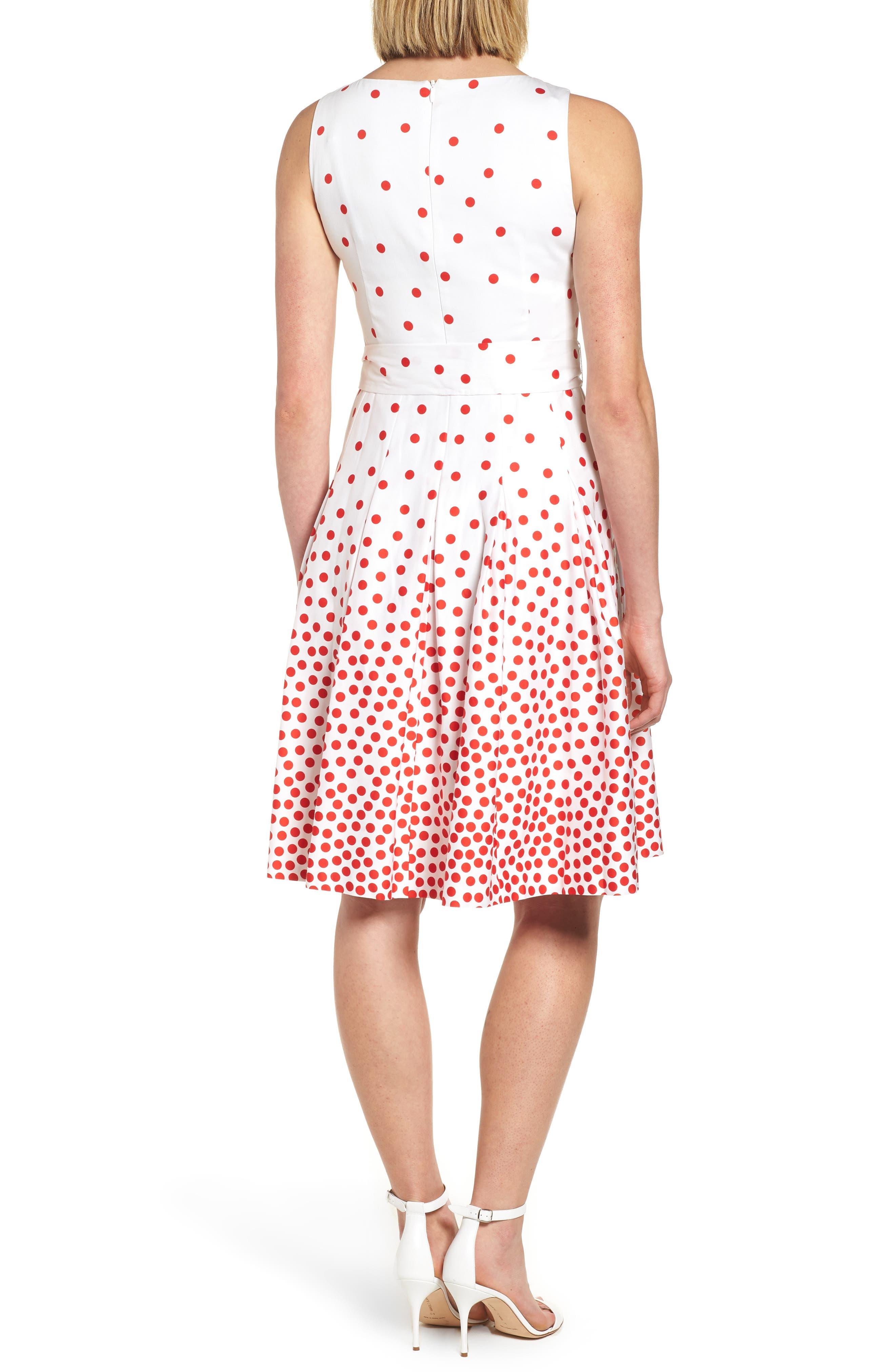 New York Scattered Dot Stretch Cotton Dress,                             Alternate thumbnail 2, color,                             Optic White/ Tomato