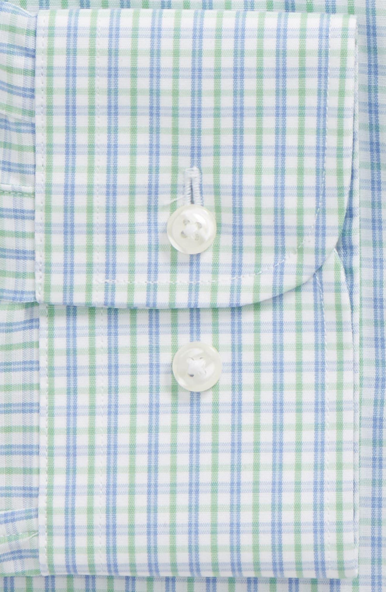 Trim Fit Check Dress Shirt,                             Alternate thumbnail 2, color,                             Green Paris
