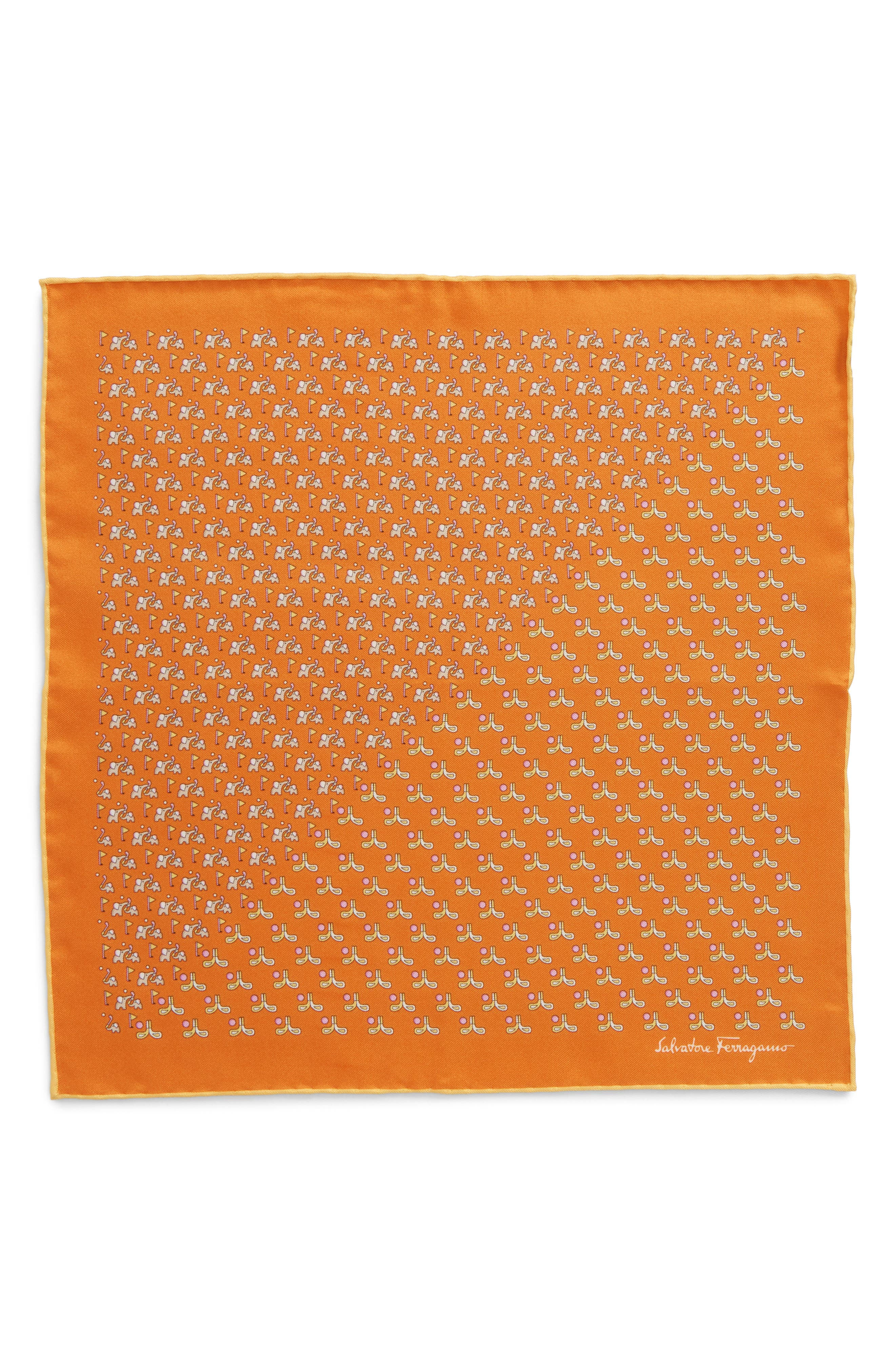 Alternate Image 3  - Salvatore Ferragamo Golf Print Silk Pocket Square