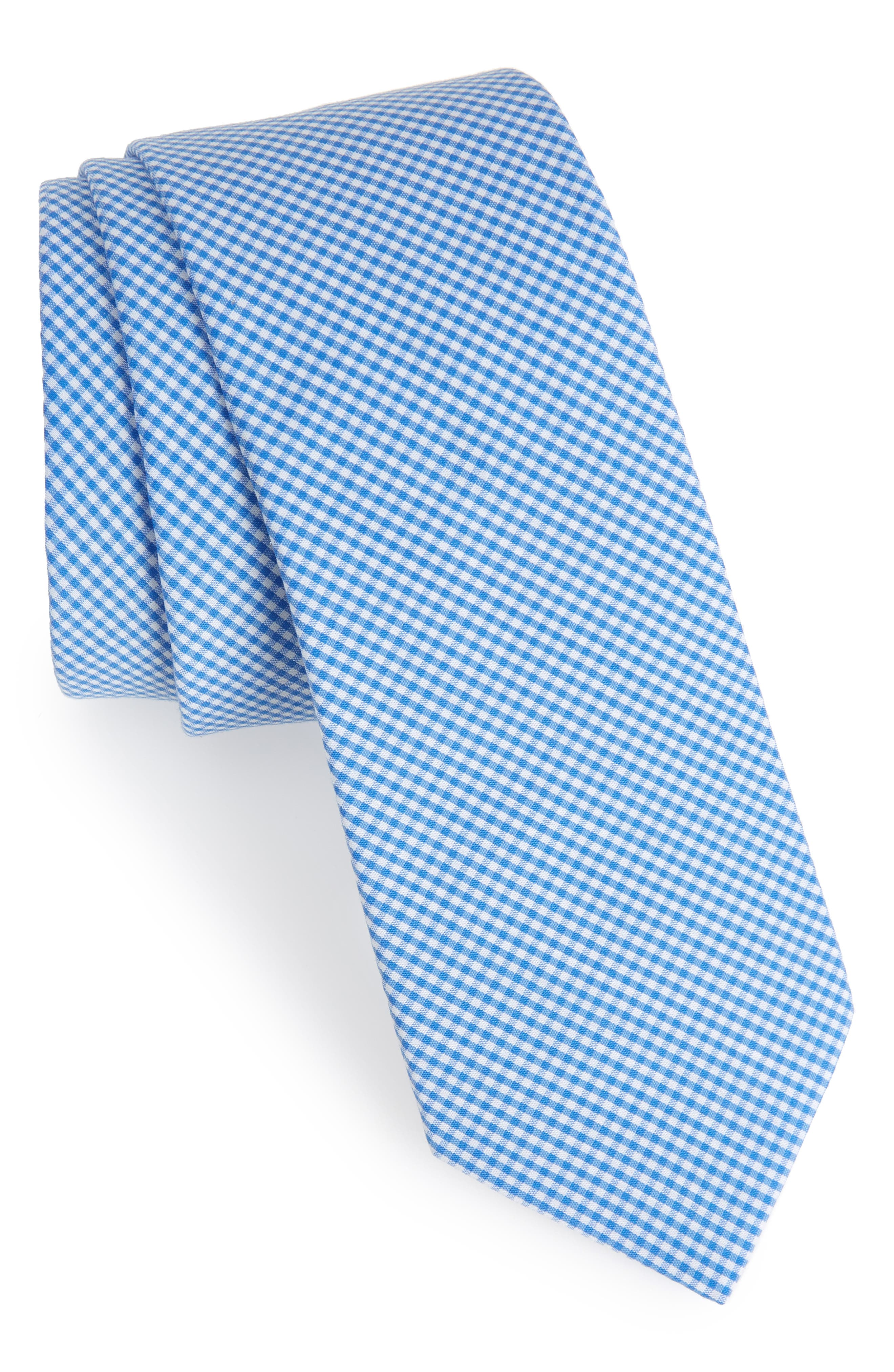 Sydney Check Cotton Skinny Tie,                             Main thumbnail 1, color,                             Light Blue