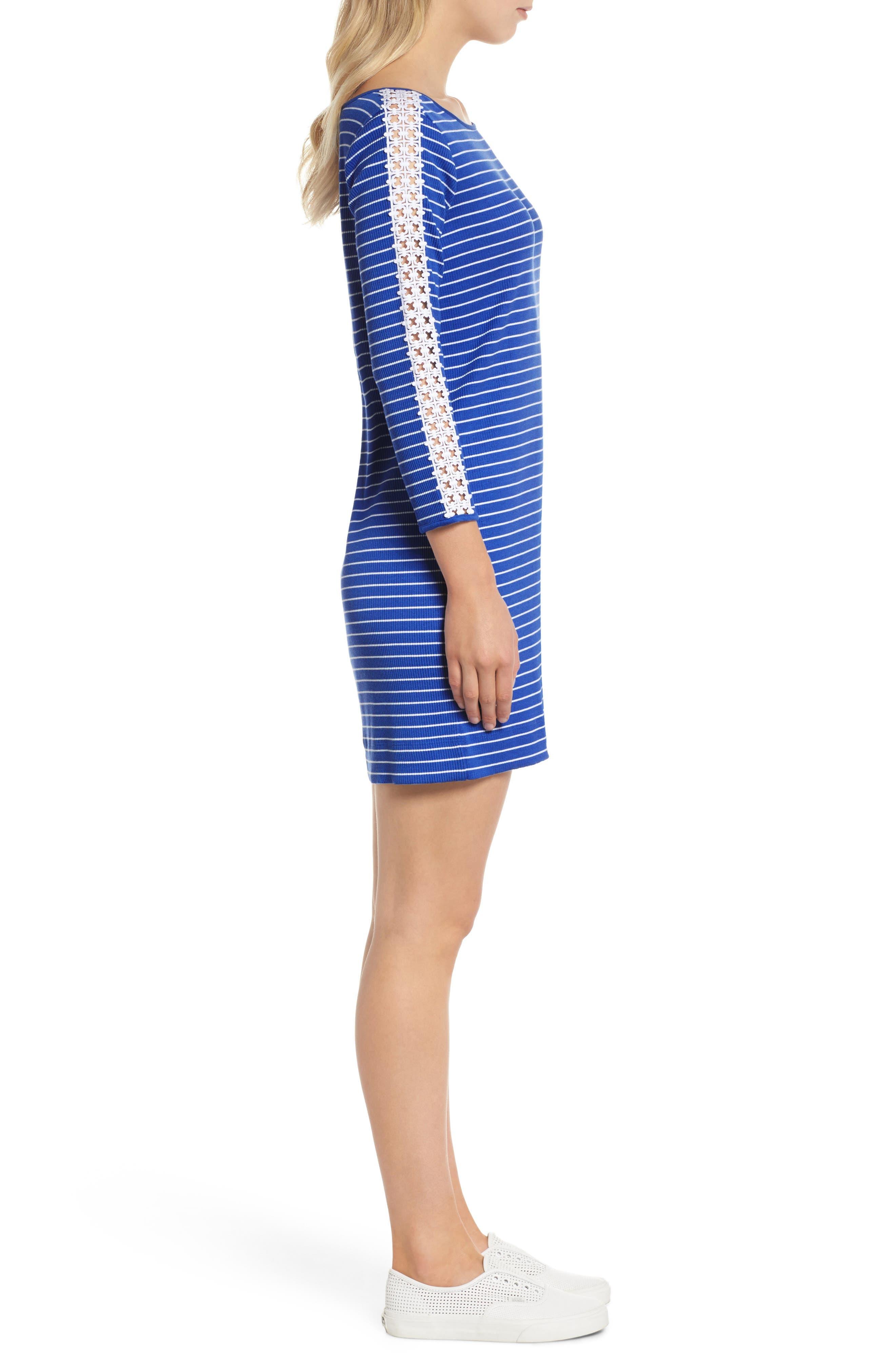 Marlowe Shift Dress,                             Alternate thumbnail 3, color,                             Beckon Blue Breeze Stripe