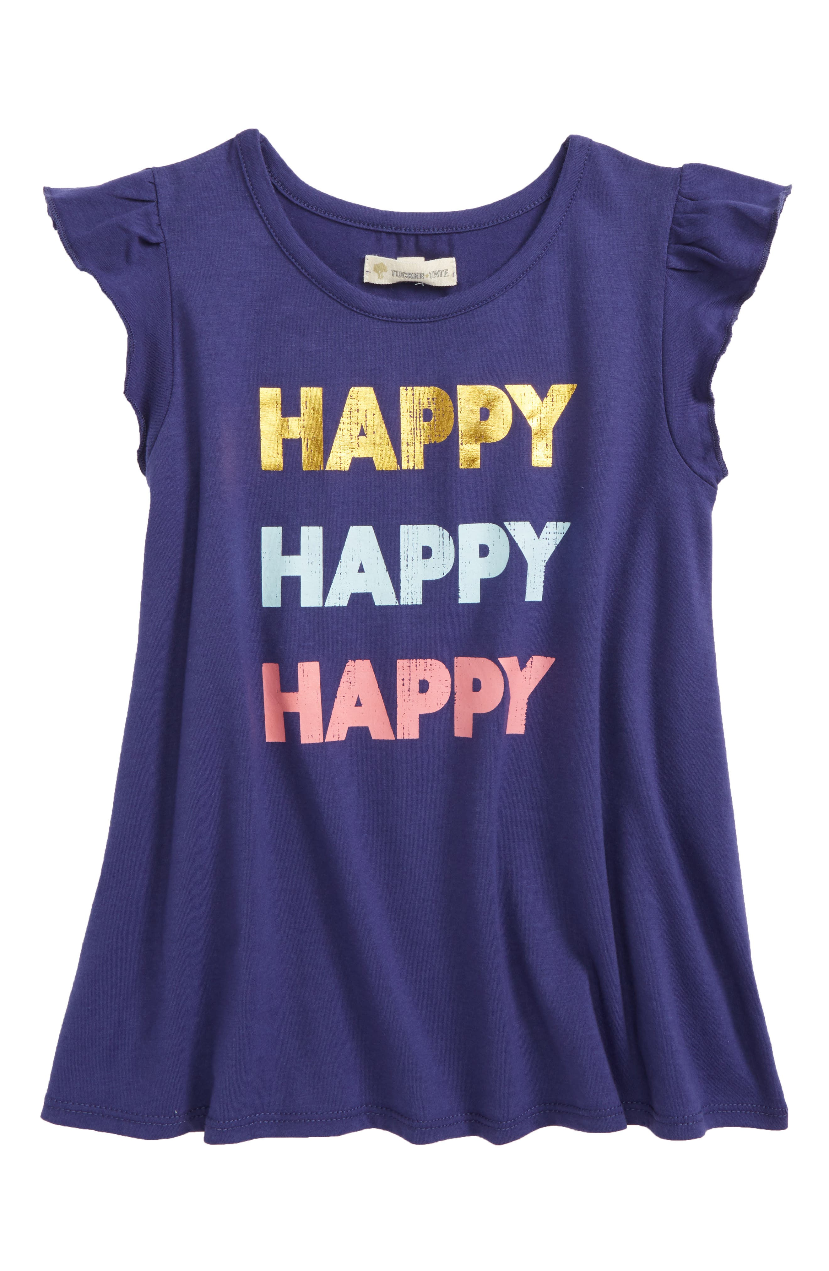 Graphic Flutter Sleeve Tee,                             Main thumbnail 1, color,                             Navy Ribbon Happy