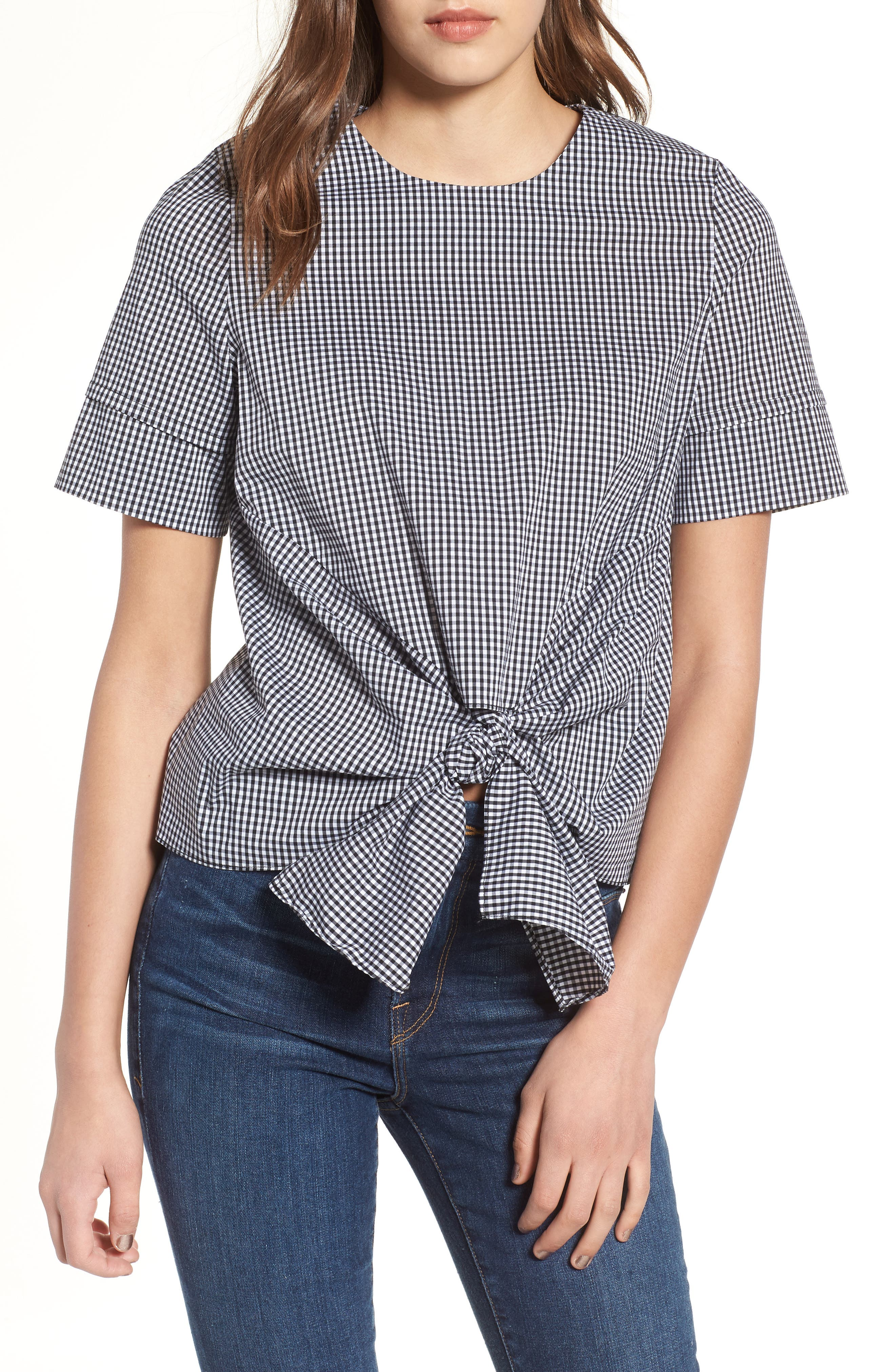 Bishop + Young Gingham Tie Front Blouse,                             Main thumbnail 1, color,                             Gingham