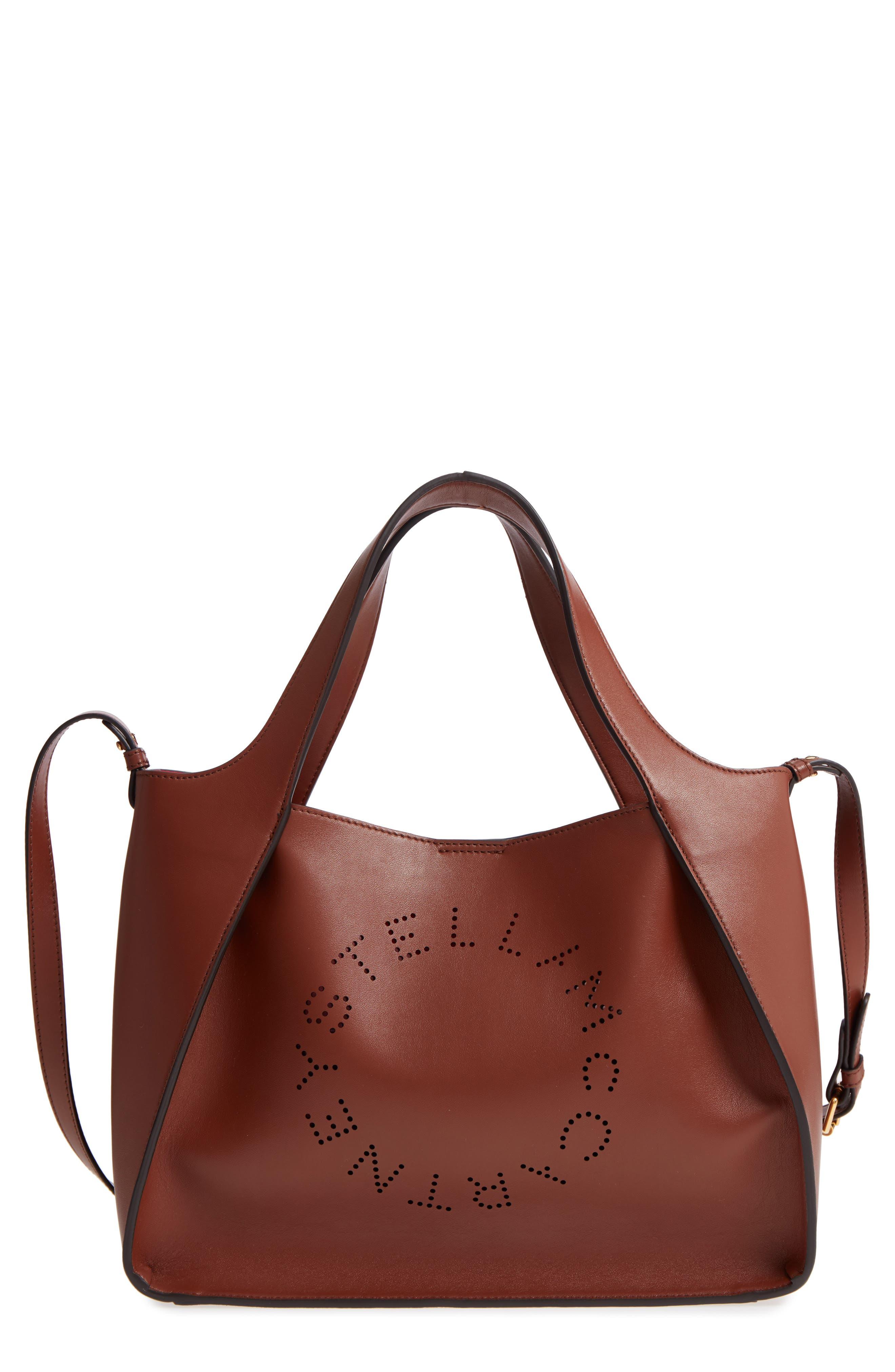 Perforated Logo Faux Leather Satchel,                         Main,                         color, Pecan