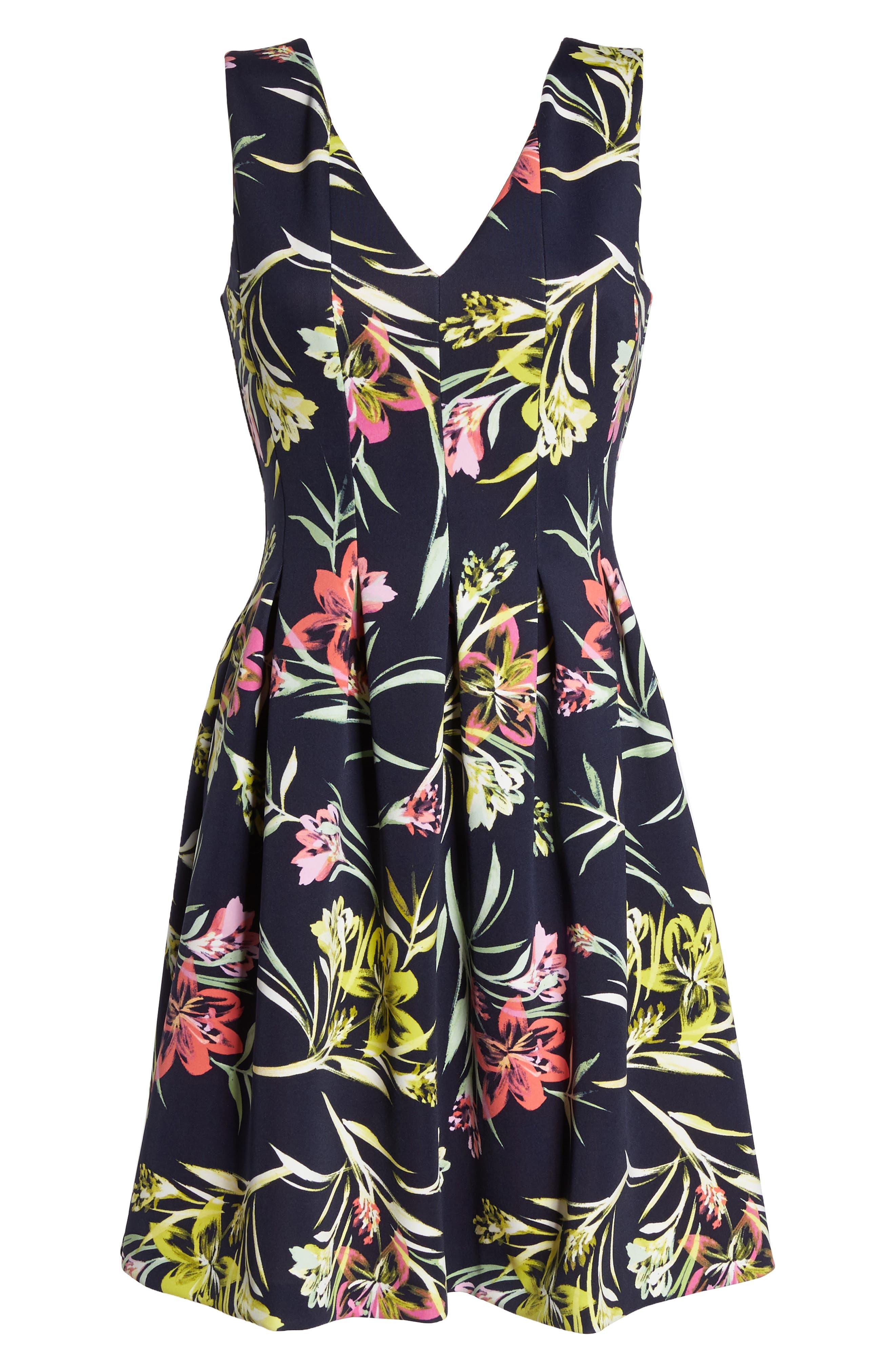 Floral Print Scuba Crepe Fit & Flare Dress,                             Alternate thumbnail 7, color,                             Navy Multi