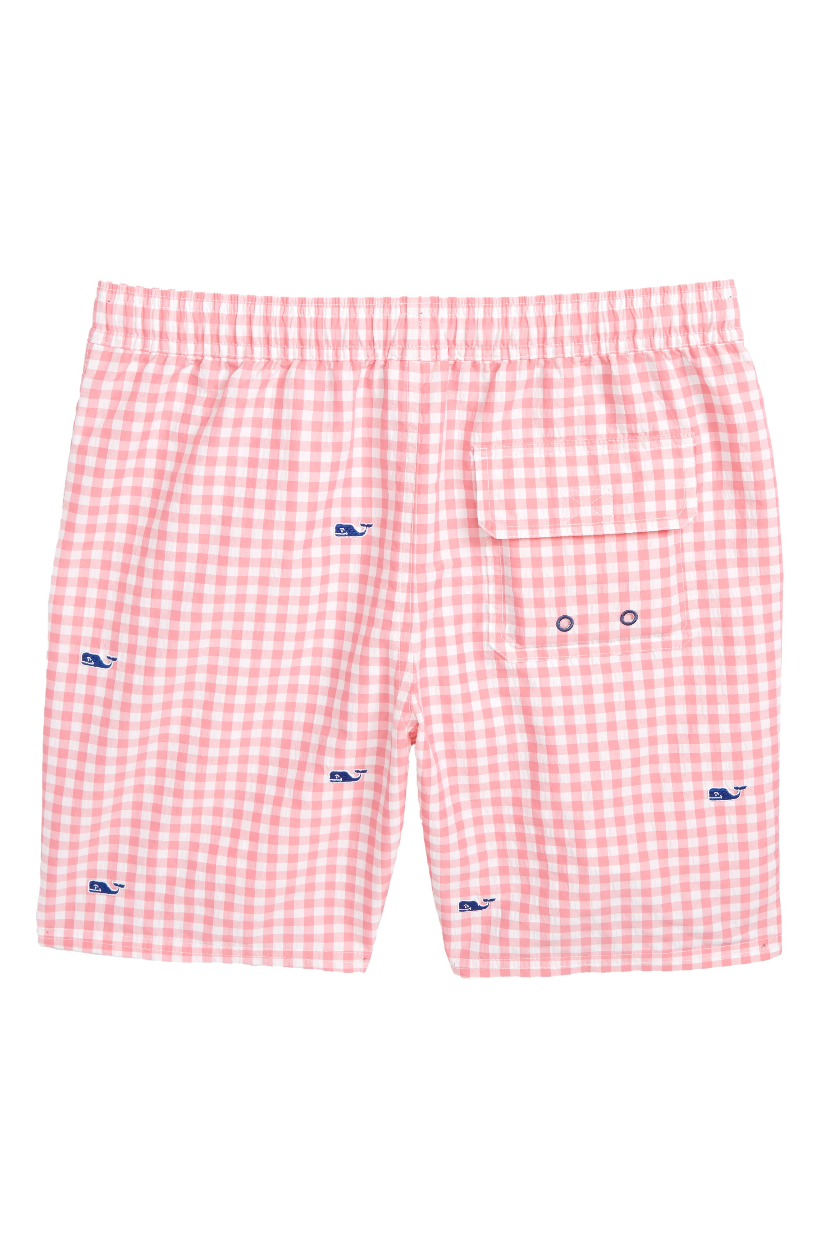 Embroidered Micro Gingham Check Swim Trunks,                             Alternate thumbnail 2, color,                             Bahama Breeze